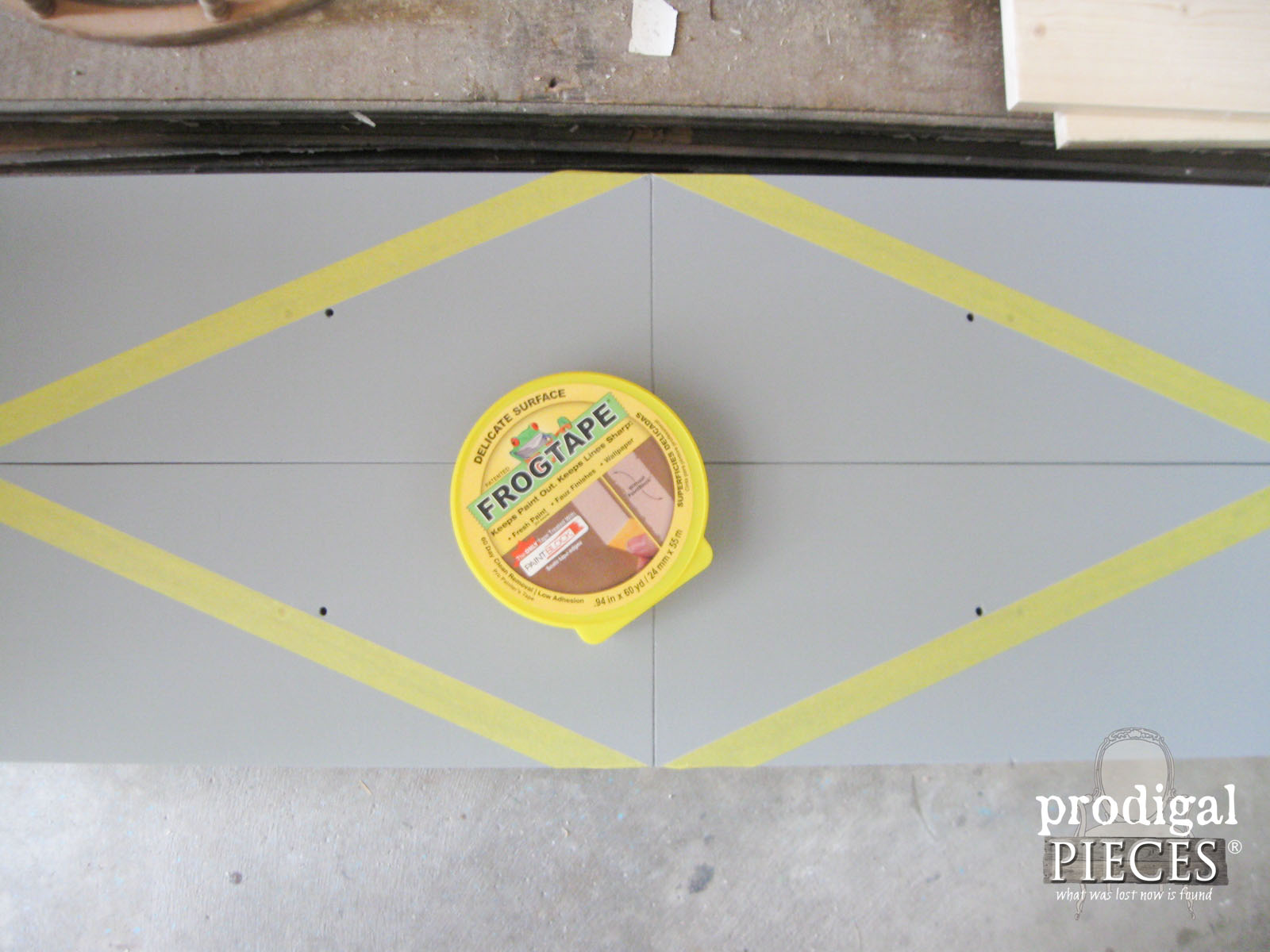 Using Frog Tape for Geometric Design on Entertainment Console | Prodigal Pieces | www.prodigalpieces.com