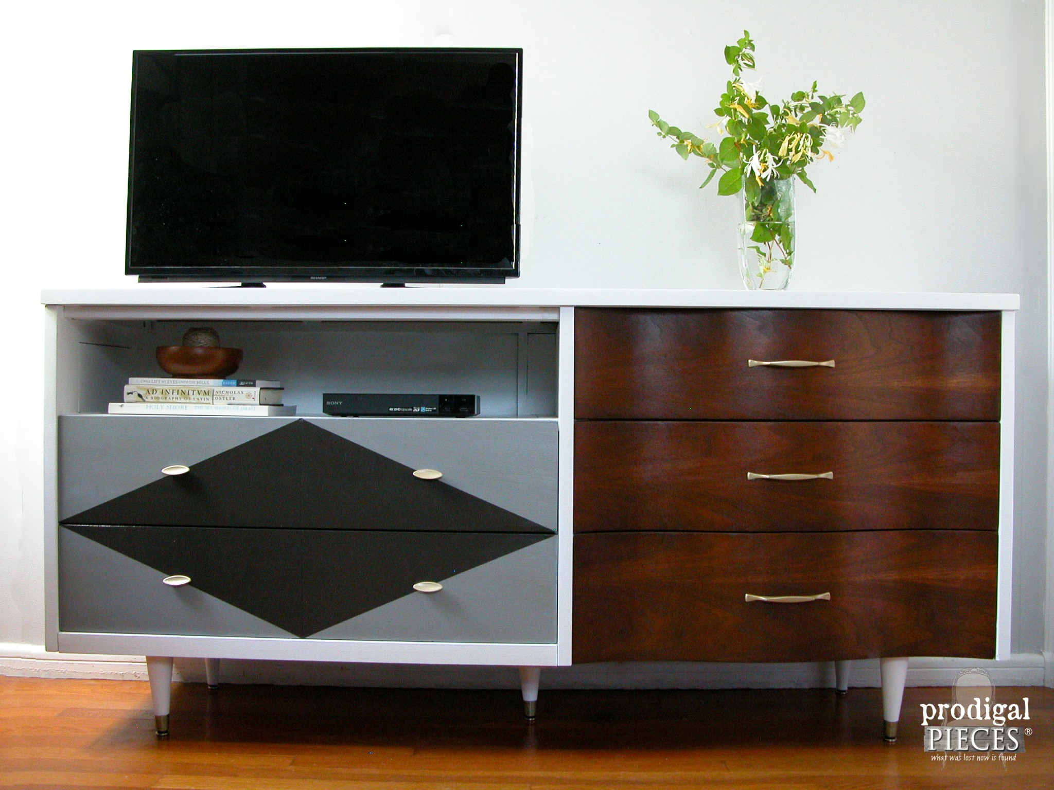 Mid Century Modern Entertainment Console Credenza by Prodigal Pieces | www.prodigalpieces.com