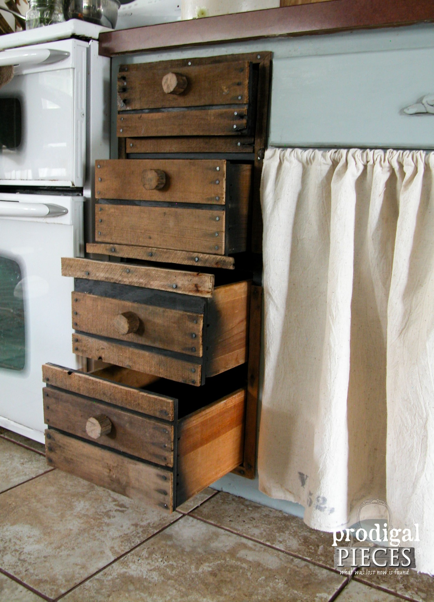 Faux Crate Drawers Open to Four Drawers | Prodigal Pieces | www.prodigalpieces.com