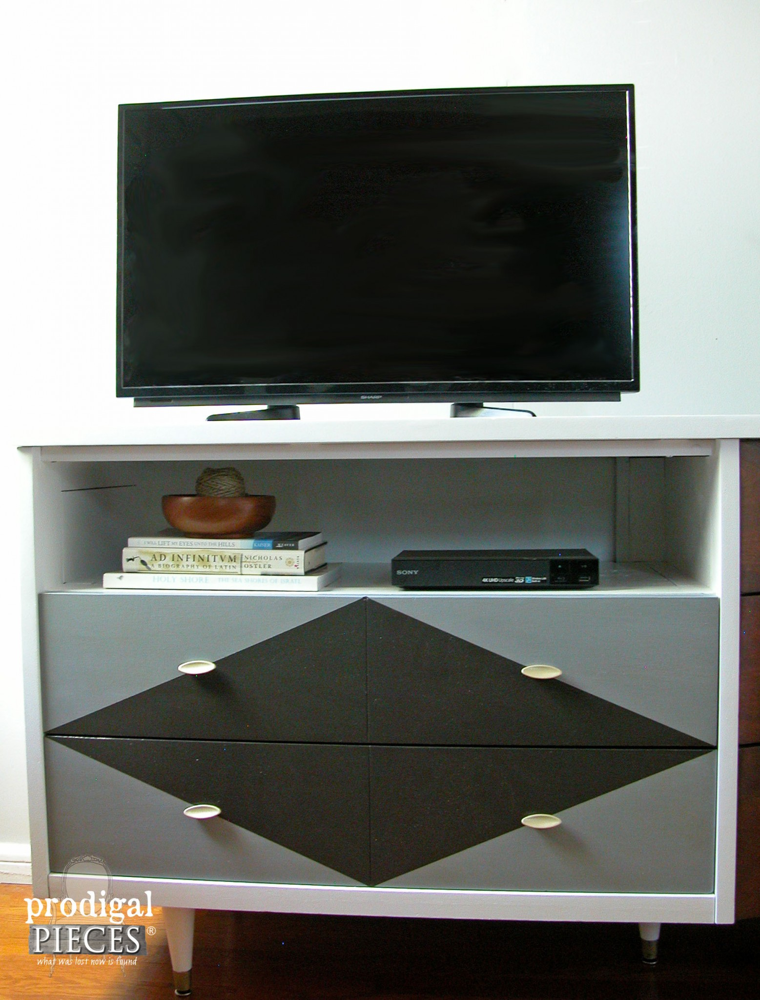 Geometric Painted Drawers on Mid Century Entertainment Console | Prodigal Pieces | www.prodigalpieces.com