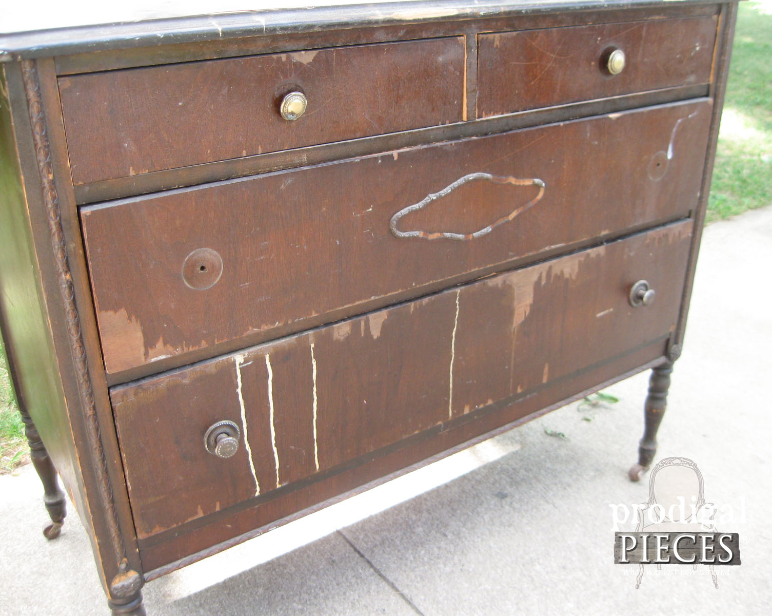 Dresser Face with Veneer Damage and Missing Parts | Prodigal Pieces | www.prodigalpieces.com