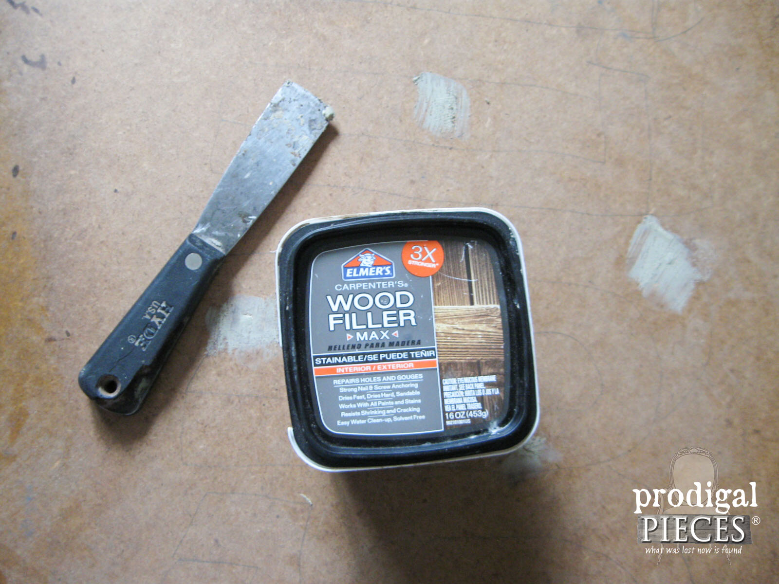 Using Wood Filler to Repair Faux Clock Face | Prodigal Pieces | www.prodigalpieces.com