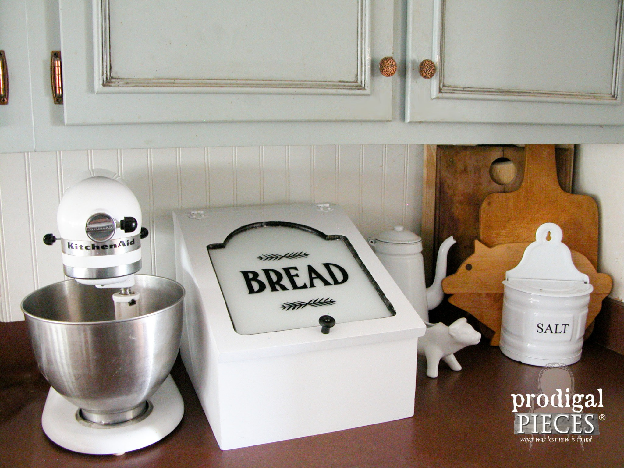 Farmhouse Style Repurposed Bread Box Charging Station by Prodigal Pieces | www.prodigalpieces.com