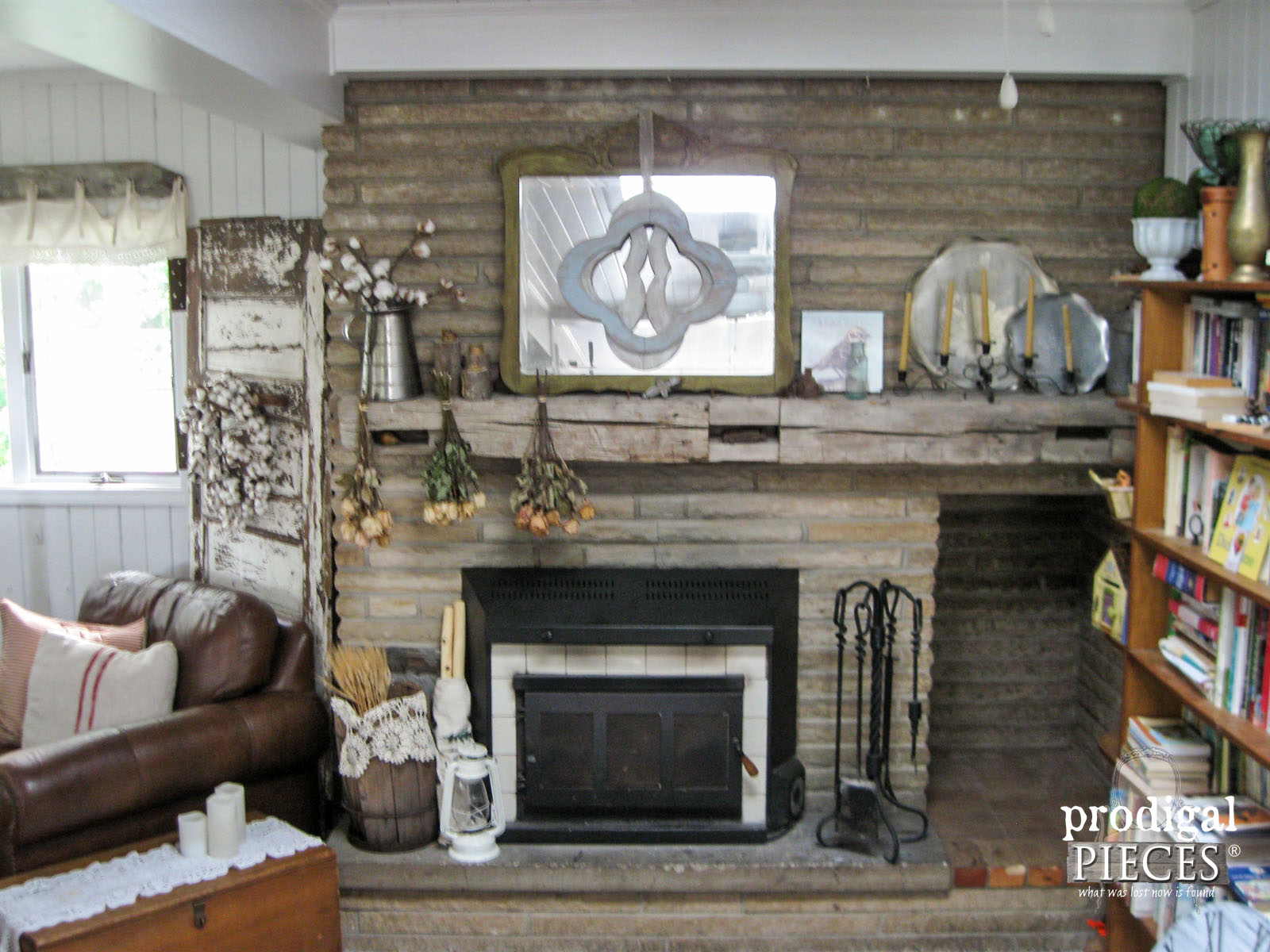 Rustic Farmhouse Mantel Before Summer Switch | Prodigal Pieces | www.prodigalpieces.com
