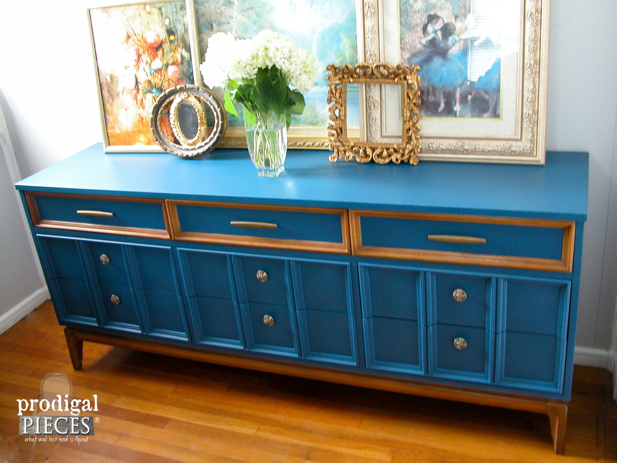 Arctic Blue Mid Century Modern Dixie Dresser with Factory Finish by Prodigal Pieces | www.prodigalpieces.com