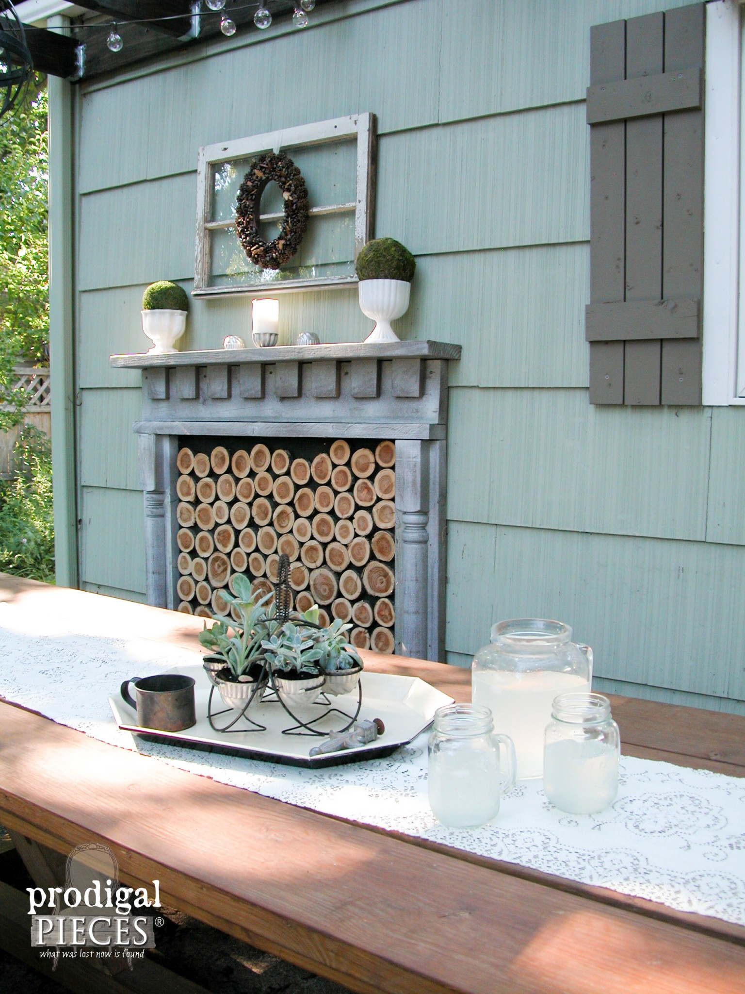 Rustic Patio with Succulents and Faux Fireplace by Prodigal Pieces | www.prodigalpieces.com