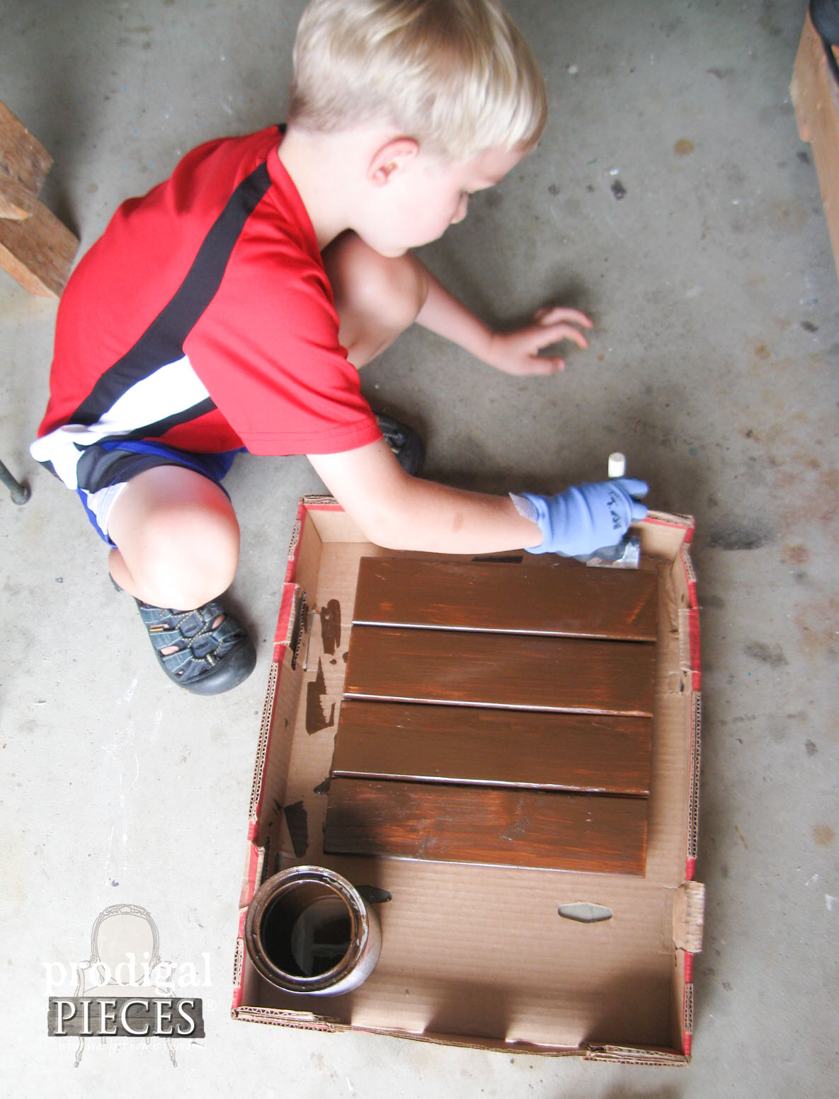 Boy Staining Table with Early American by RustOleum | Prodigal Pieces | www.prodigalpieces.com