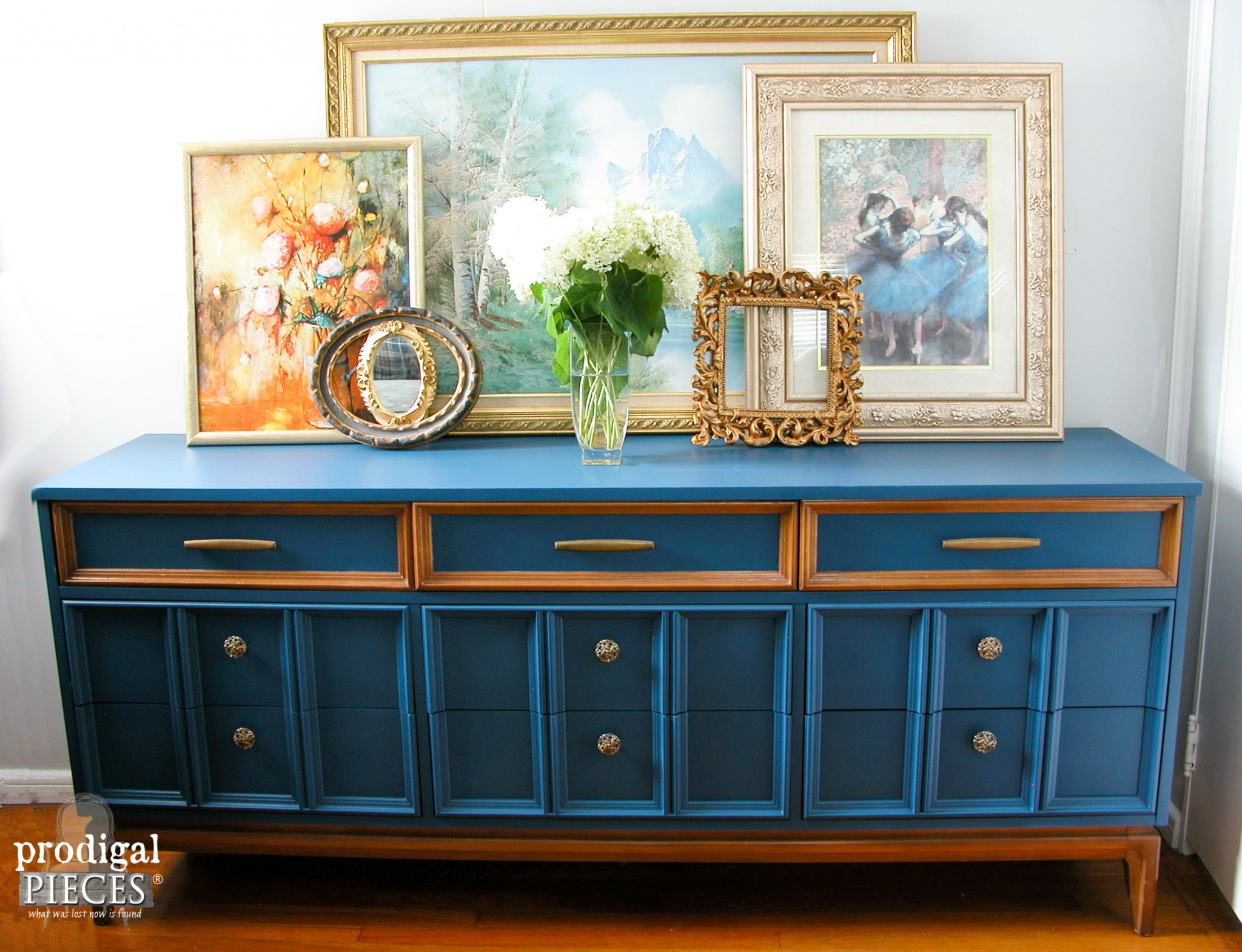 Vintage Mid Century Modern Dixie Dresser in Blue by Prodigal Pieces | www.prodigalpieces.com
