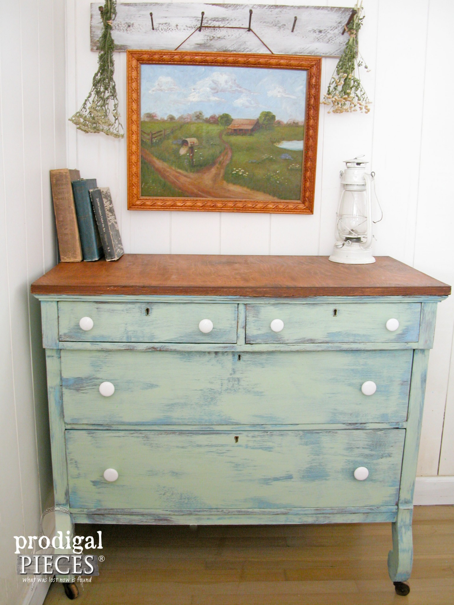 Farmhouse Dresser with Damaged Veneer Removal Tutorial by Prodigal Pieces | www.prodigalpieces.com