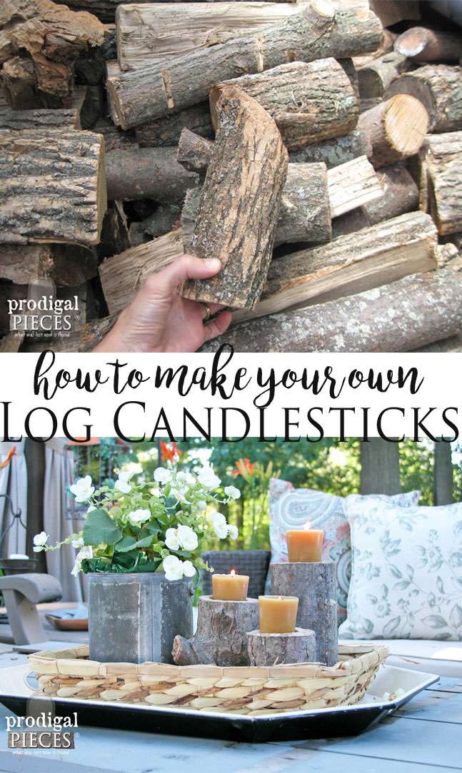 How to Make your Own Log Candlestick Set by Prodigal Pieces | www.prodigalpieces.com