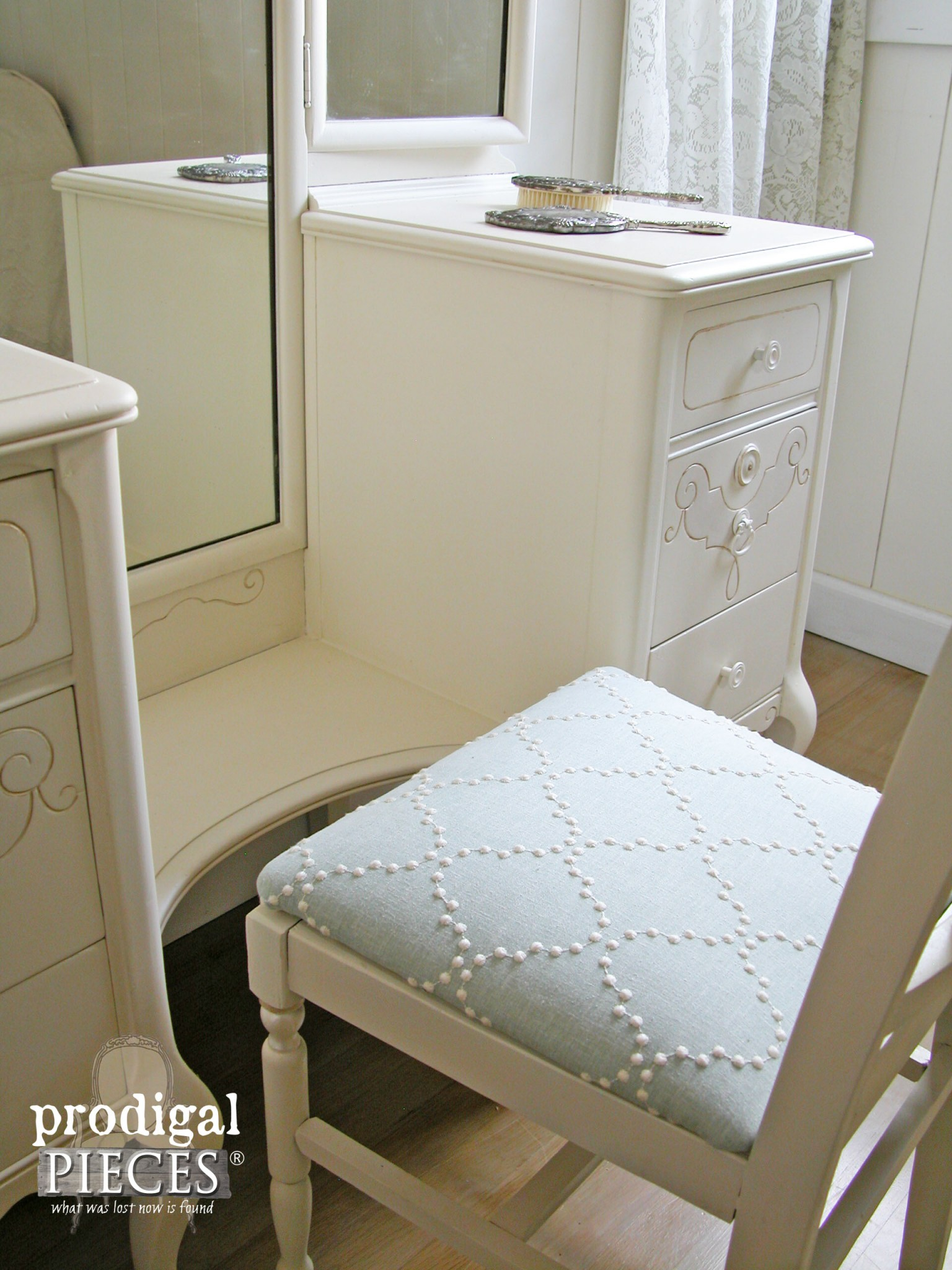 Upholstered Vanity Chair To Coordinate Custom Furniture By Prodigal Pieces  | Www.prodigalpieces.com
