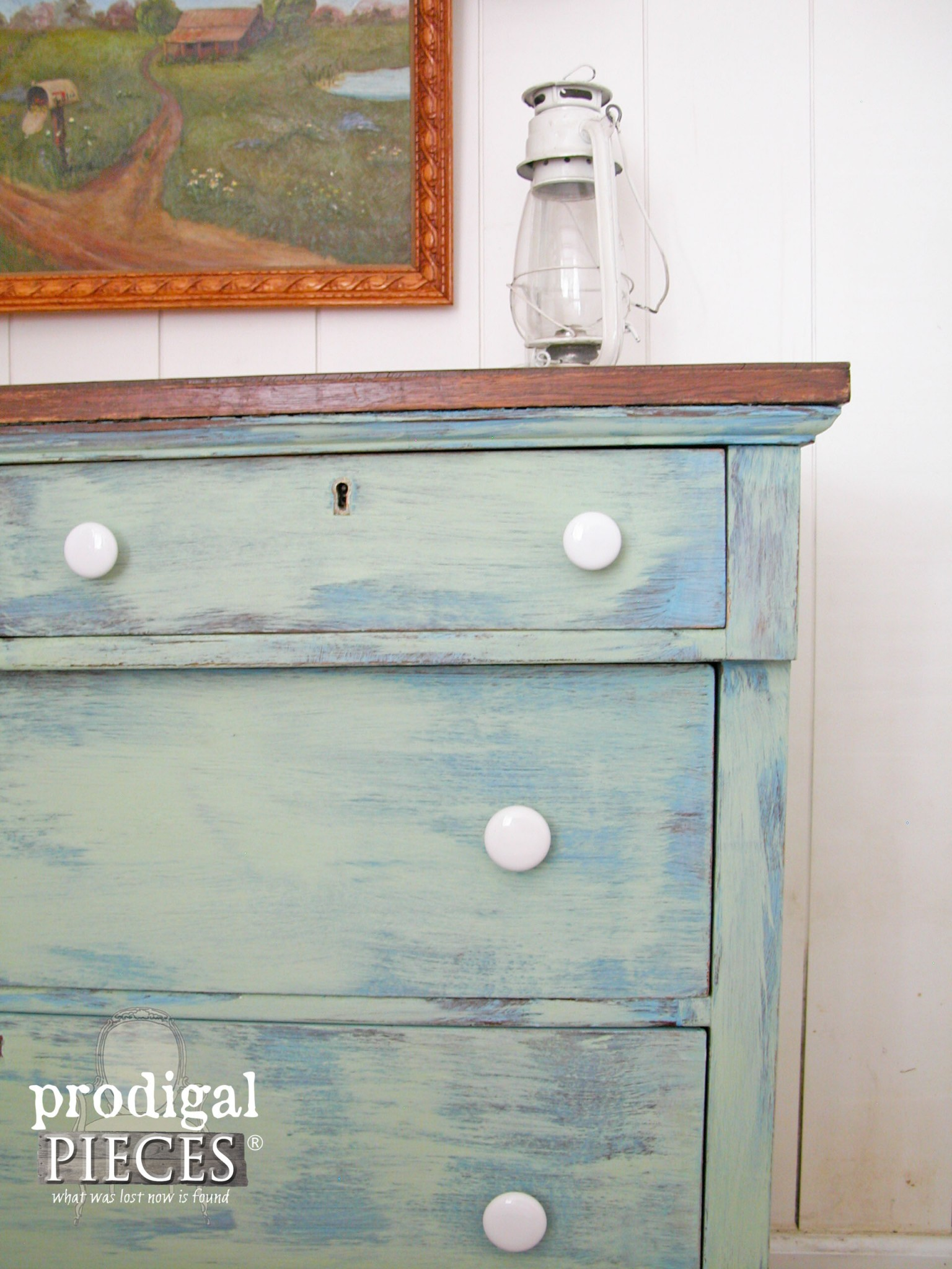 Blue and Green Washed Farmhouse Empire Dresser by Prodigal Pieces | www.prodigalpieces.com