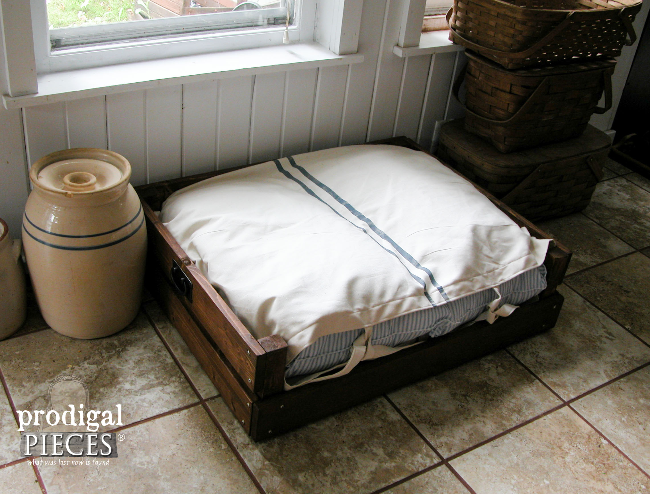 Grain Sack & Ticking Pet Bed with DIY Plans and Tutorial by Prodigal Pieces | www.prodigalpieces.com