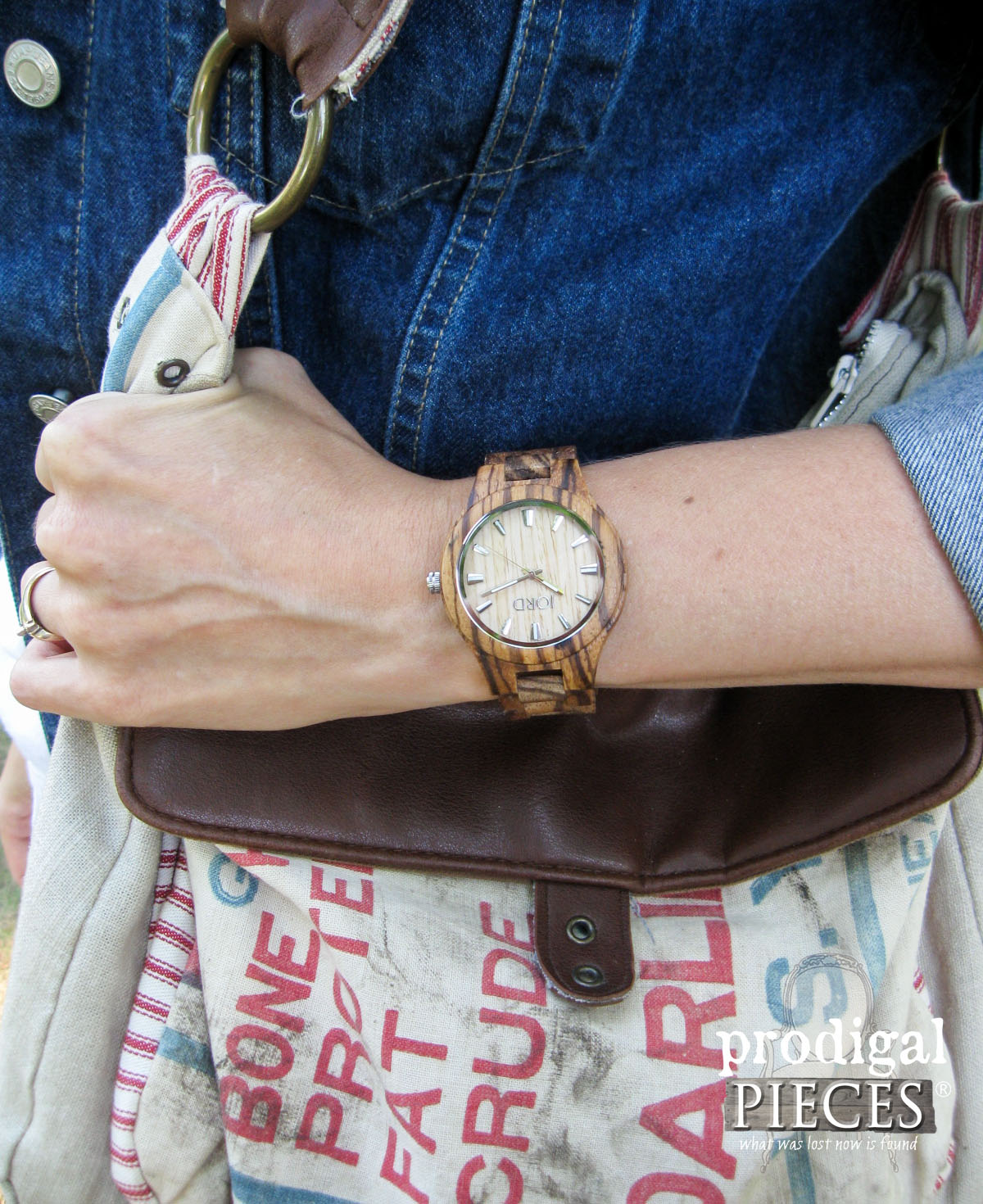 JORD Wood Watch with Feed Sack Purse by Prodigal Pieces | www.prodigalpieces.com