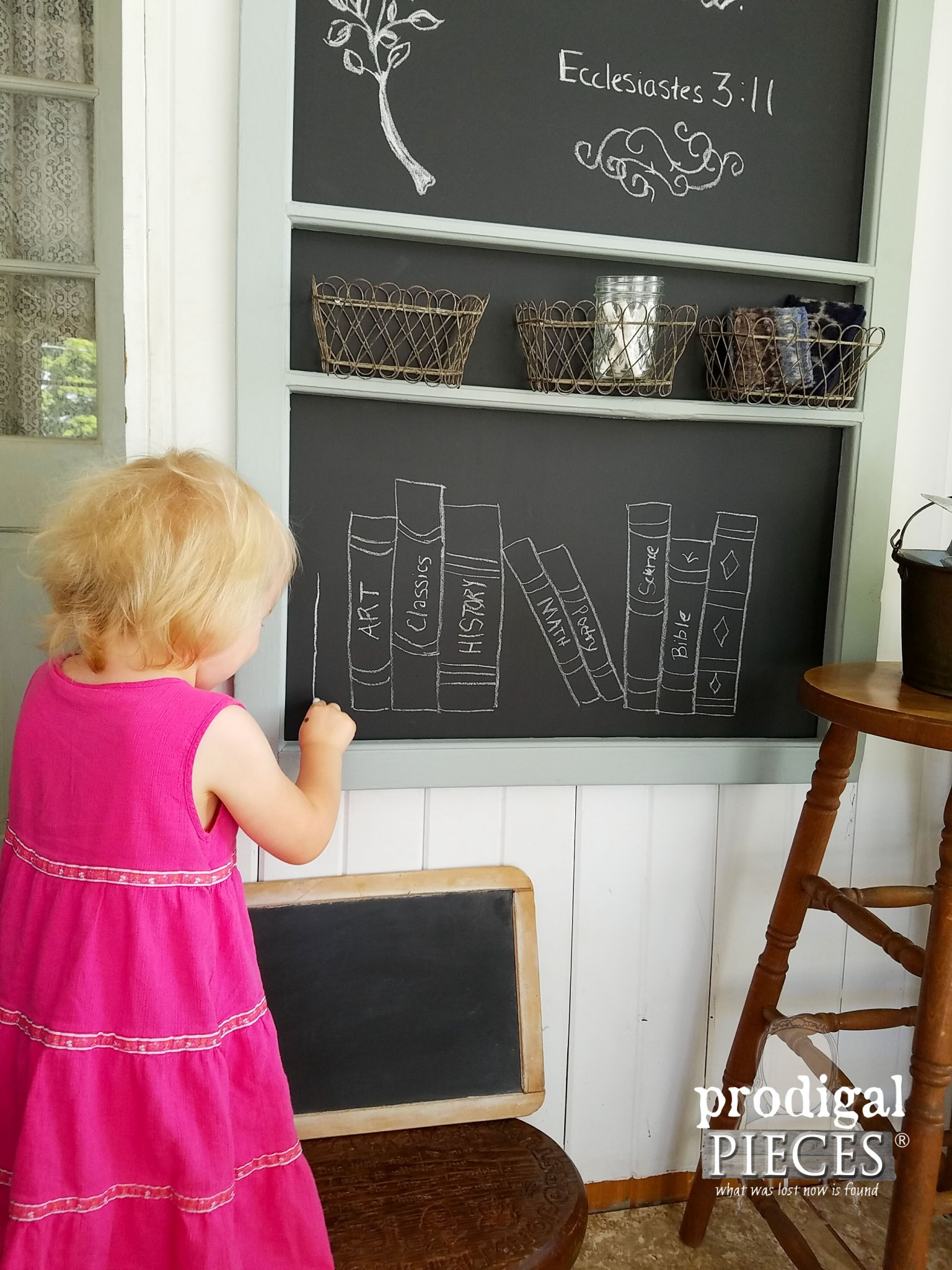 Little Girl Drawing on DIY Chalkboard | Prodigal Pieces | www.prodigalpieces.com