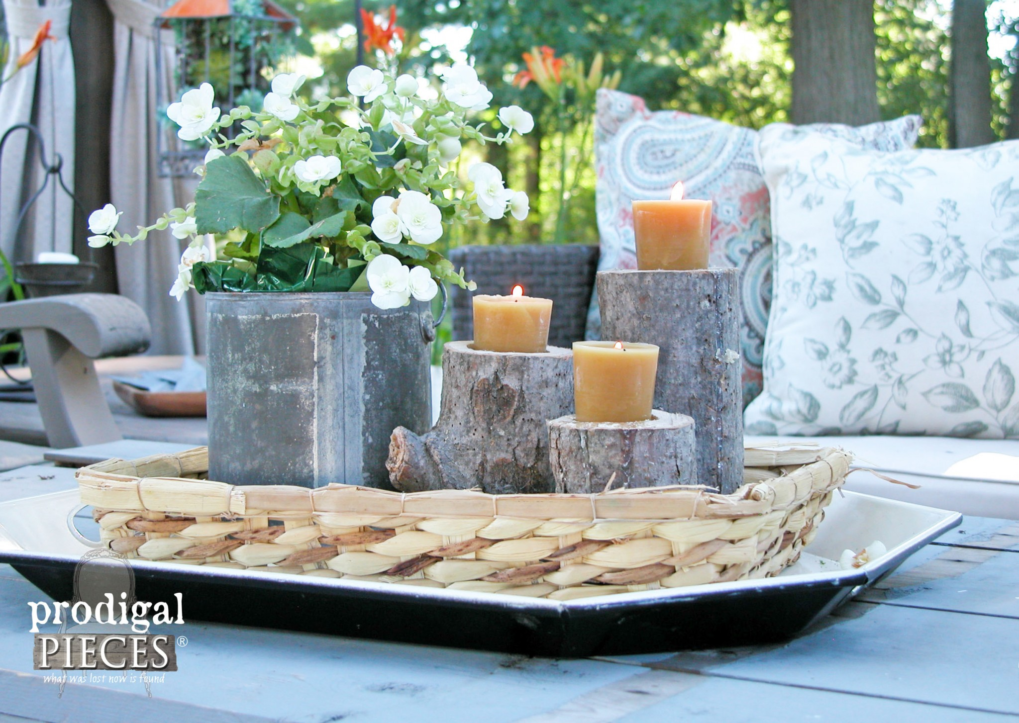 DIY Log Candlesticks on Outdoor Patio Table by Prodigal Pieces | www.prodigalpieces.com