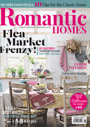 Romantic Homes August/September Issue featuring Prodigal Pieces