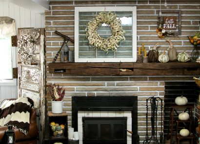 Featured Fall Mantel with Corn Husk Pumpkins and Wreath by Prodigal Pieces | www.prodigalpieces.com