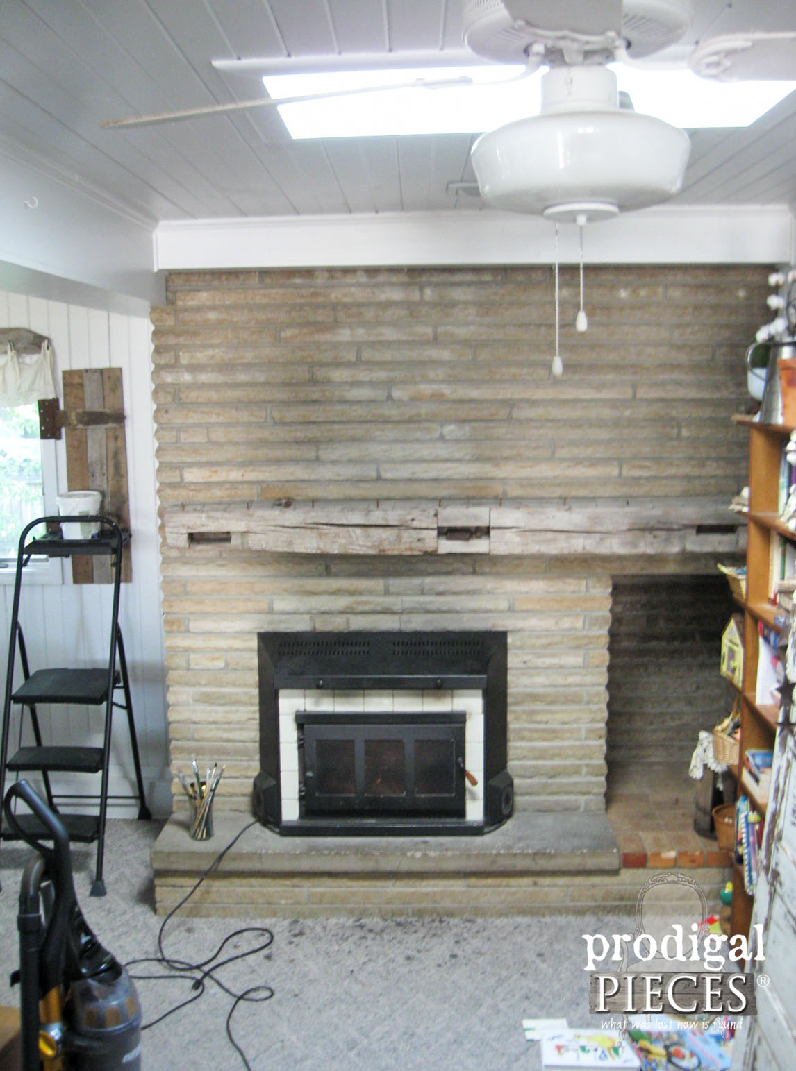 Sandstone Fireplace with Barn Beam Mantel Before | Prodigal Pieces | www.prodigalpieces.com