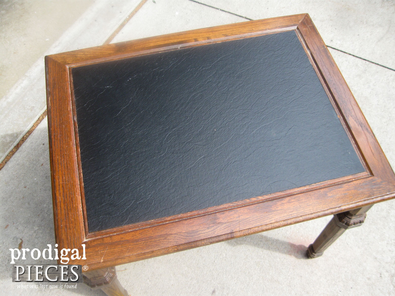 Top of Vintage Mersman Side Table with Faux Textured Top | Prodigal Pieces | www.prodigalpieces.com