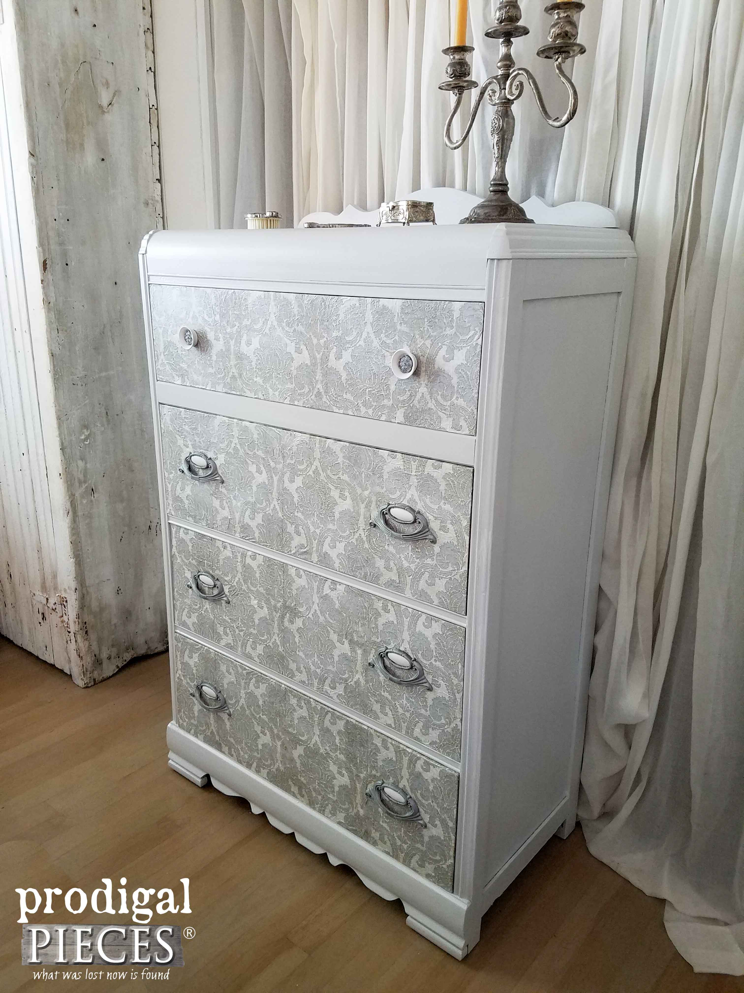 Antique Waterfall Chest of Drawers Made New with Decoupage by Prodigal Pieces | www.prodigalpieces.com