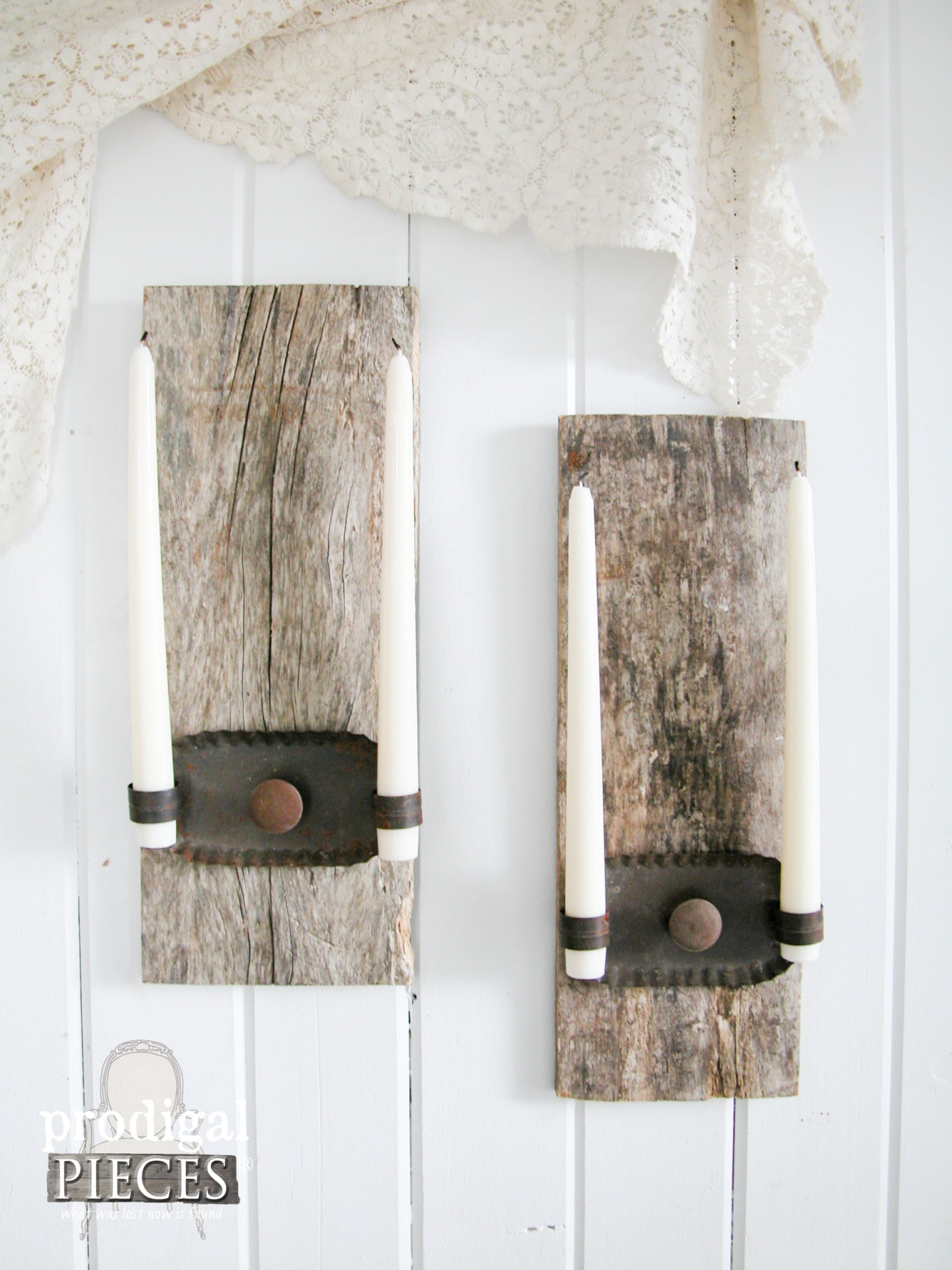 DIY Reclaimed Wood Candle Sconces by Prodigal Pieces | .prodigalpieces.com & Repurposed Candle Sconces from Barn Wood - Prodigal Pieces