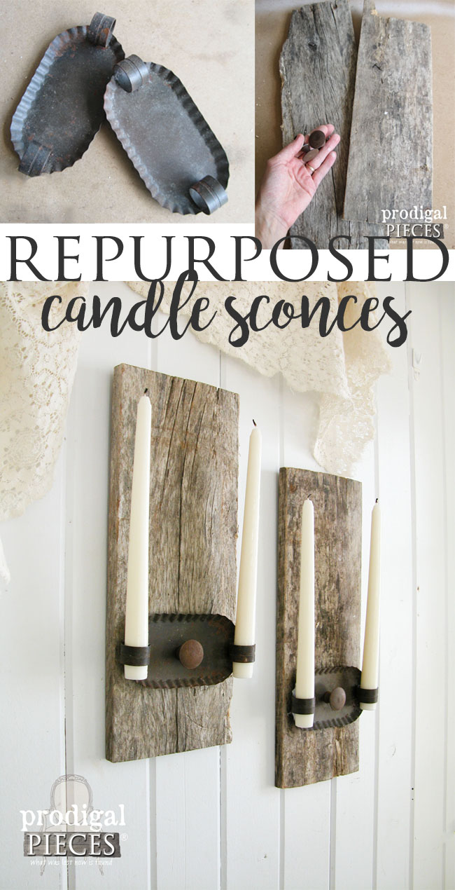 Rustic Farmhouse Repurposed Candles Sconces Made with Barn Wood by Prodigal Pieces | www.prodigalpieces.com