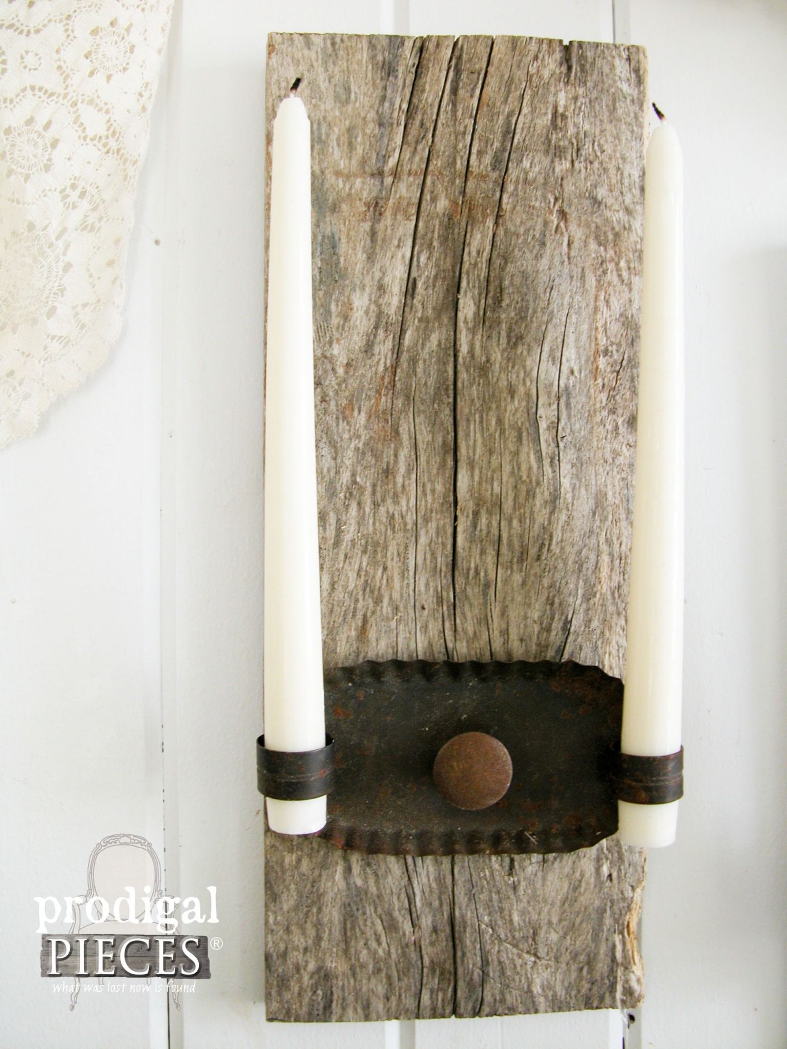 Rustic candle sconces made with reclaimed wood and repurposed parts by prodigal pieces www