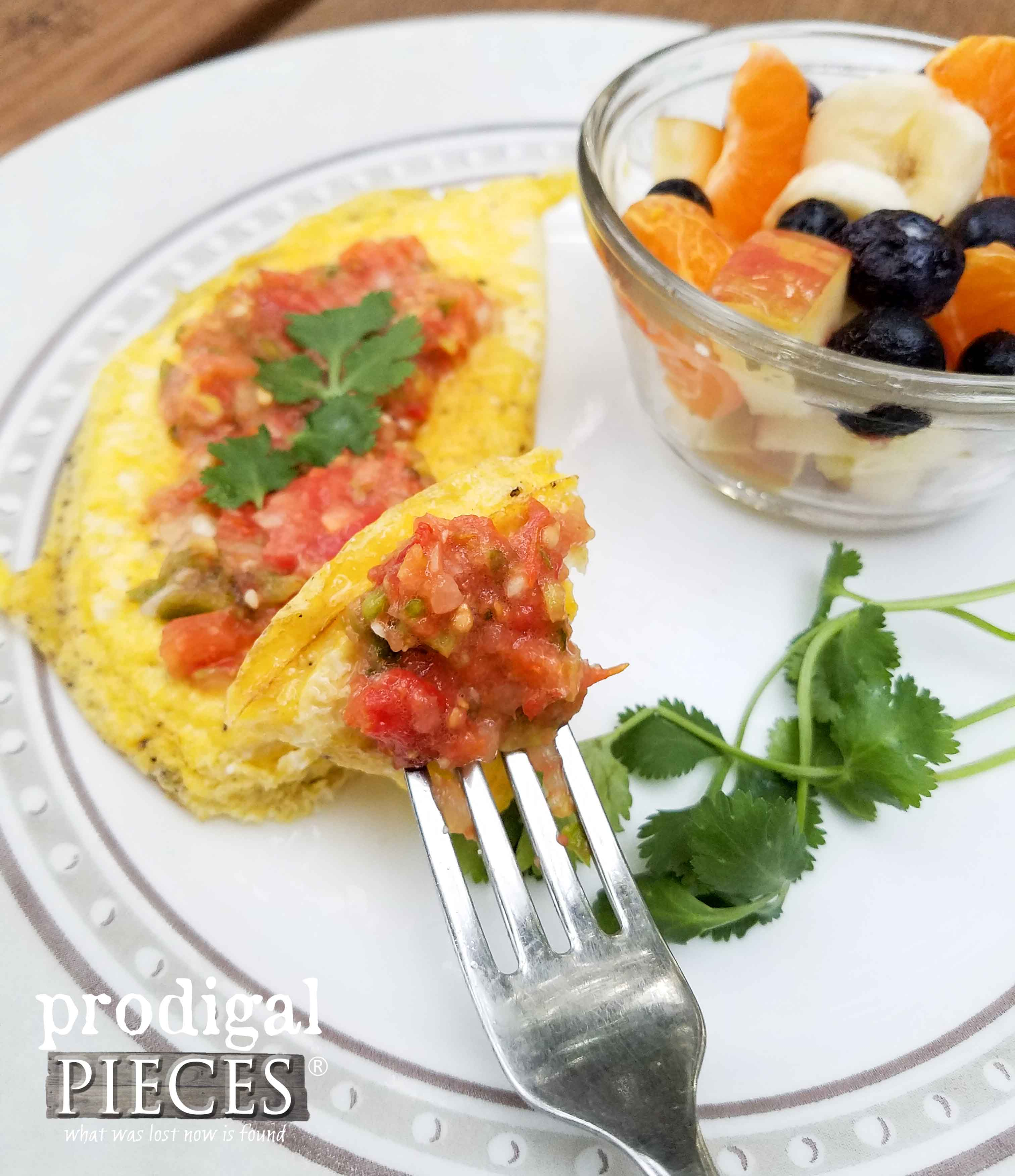 Fermented Salsa on Fried Egg with Fruit Salad for a Nourishing Breakfast by Prodigal Pieces | www.prodigalpieces.com