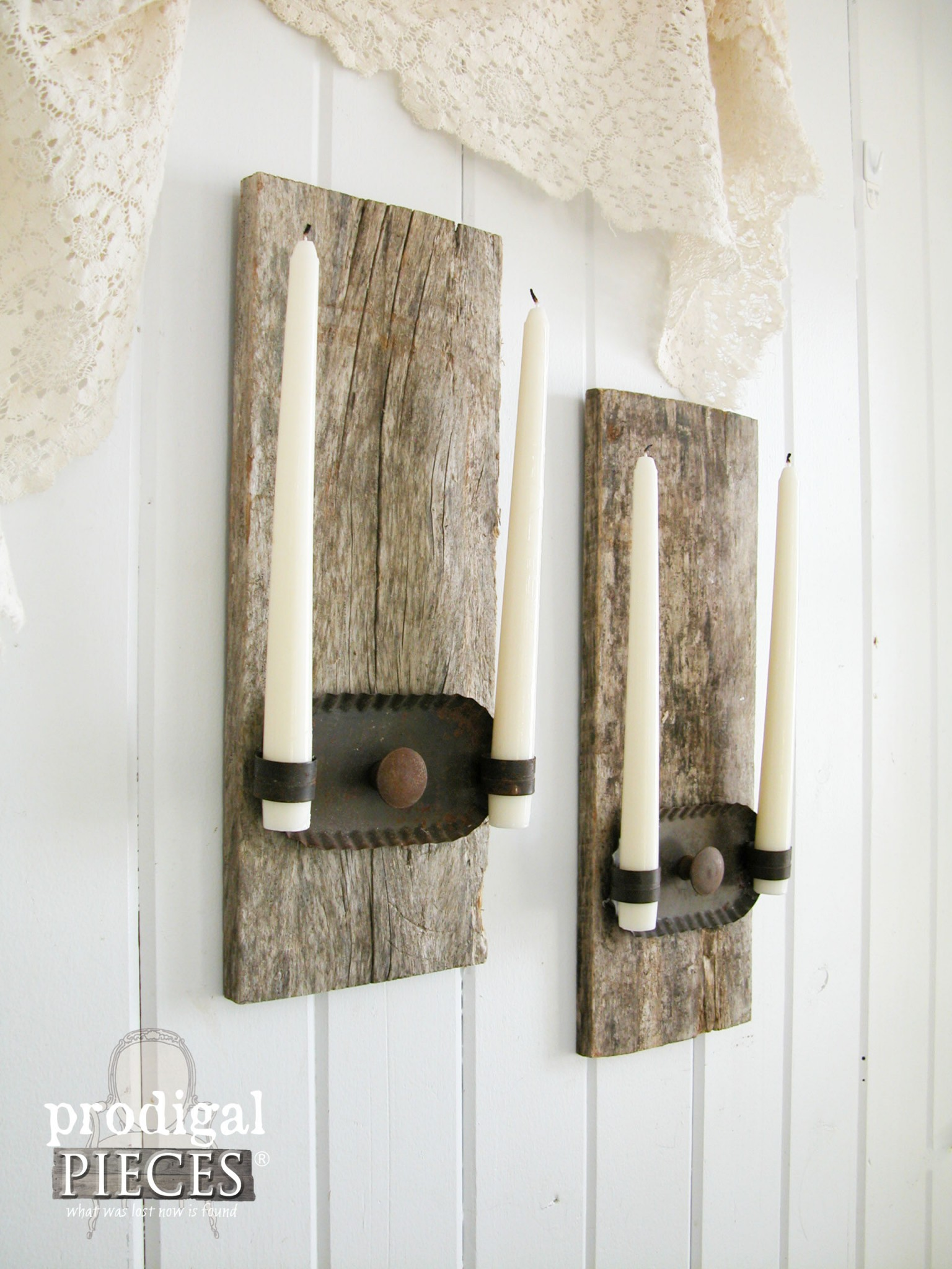 Rustic Reclaimed Candle Sconces from Barn Wood and Junk by Prodigal Pieces | www.prodigalpieces.com