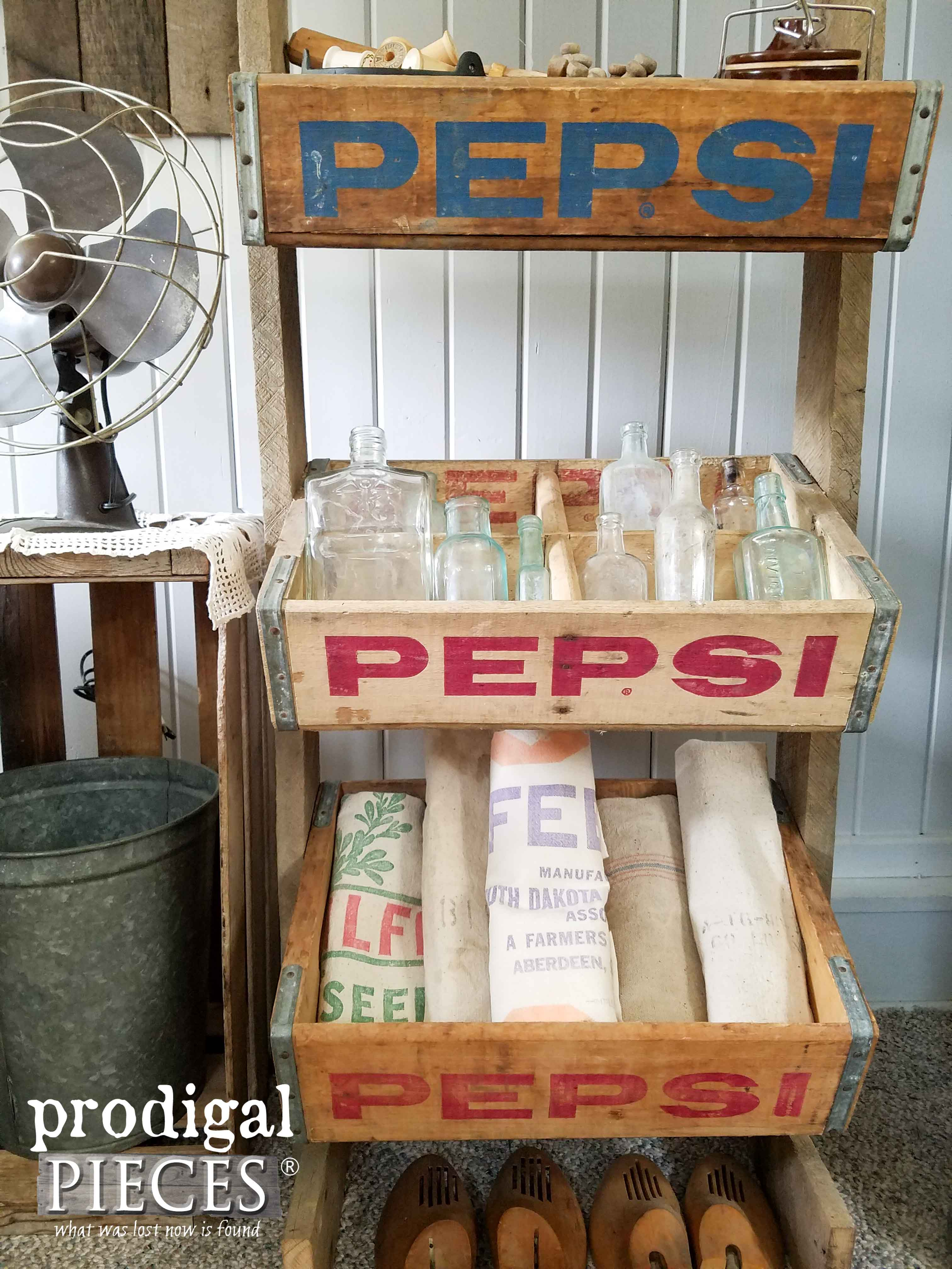 Collection of Antique Apothecary Bottles and Feed Sacks in Vintage Soda Crates | Prodigal Pieces | www.prodigalpieces.com