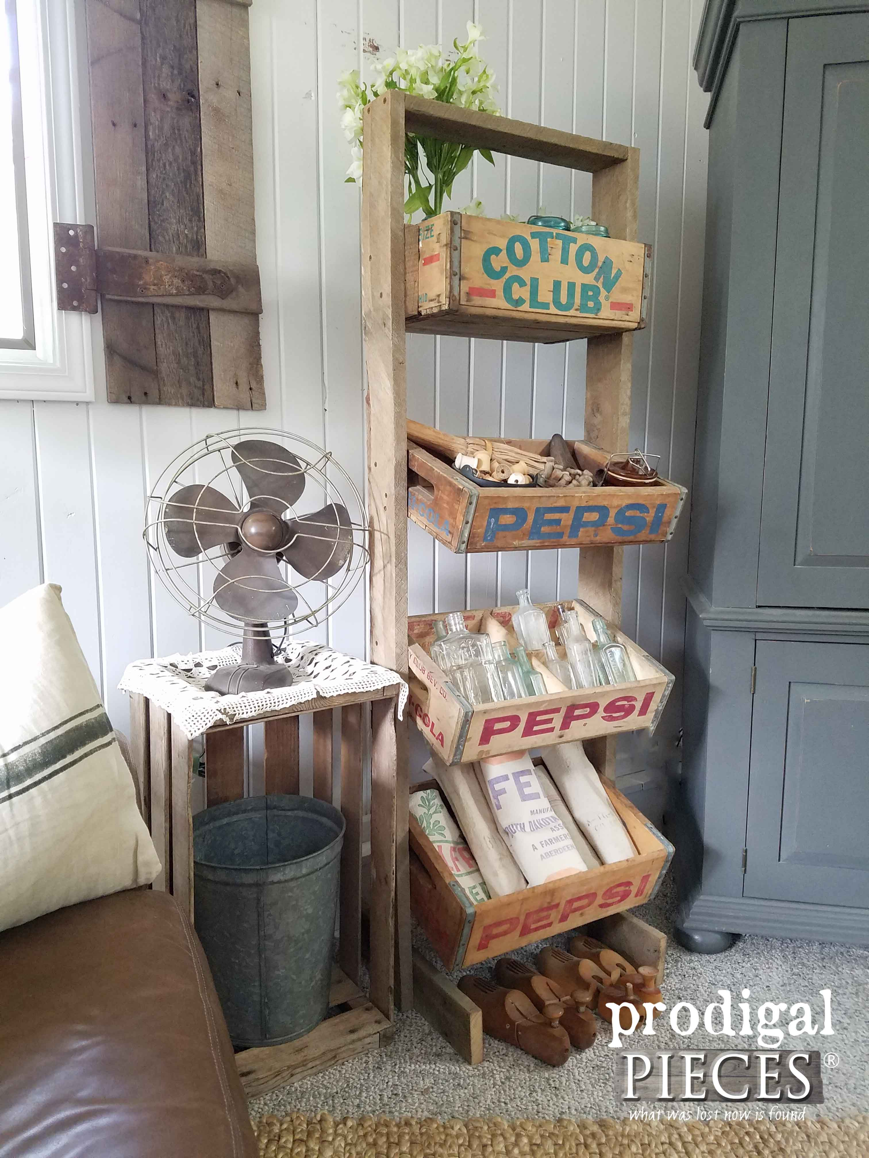 Rustic Soda Crate Stand Made with Reclaimed Barn Wood by Prodigal Pieces | www.prodigalpieces.com