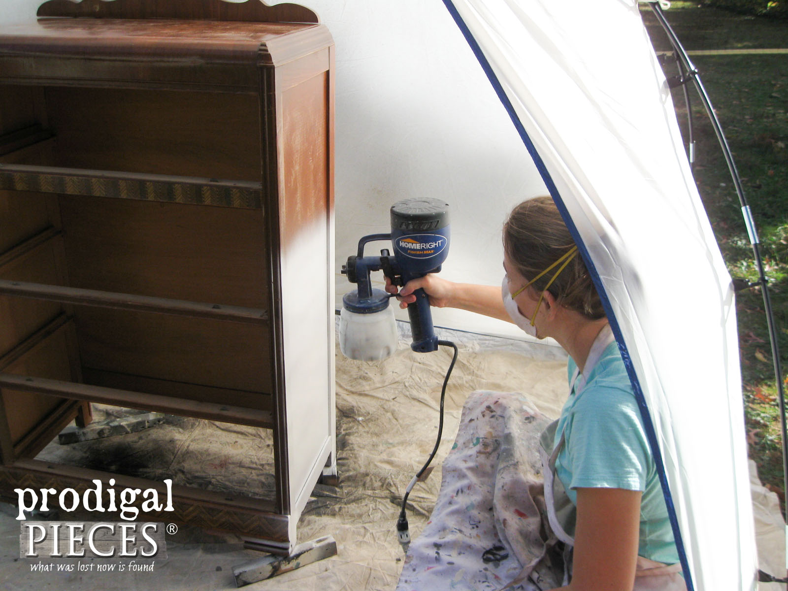 Using the HomeRight Finish Max and Spray Shelter to Paint Furniture | Prodigal Pieces | www.prodigalpieces.com