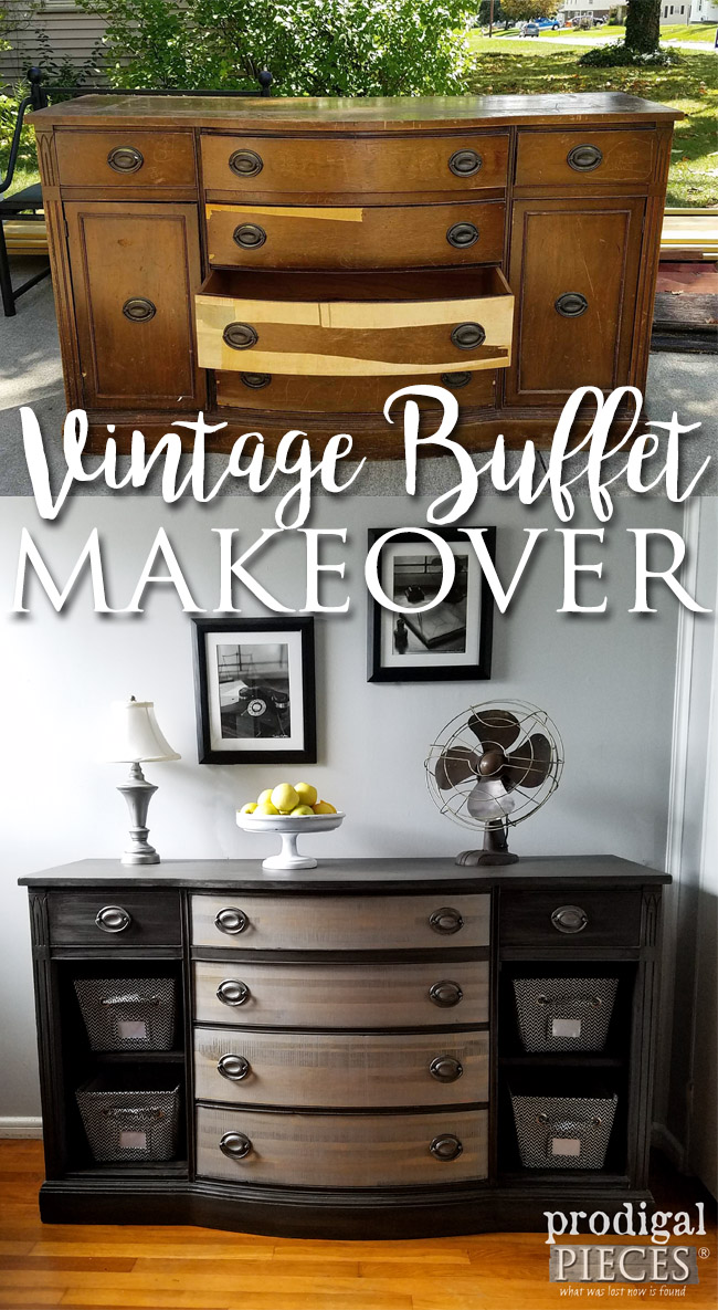 Worn Down Vintage Buffet Gets New Lease on Life by Teenage Boy | Furniture Makeover by Prodigal Pieces | prodigalpieces.com