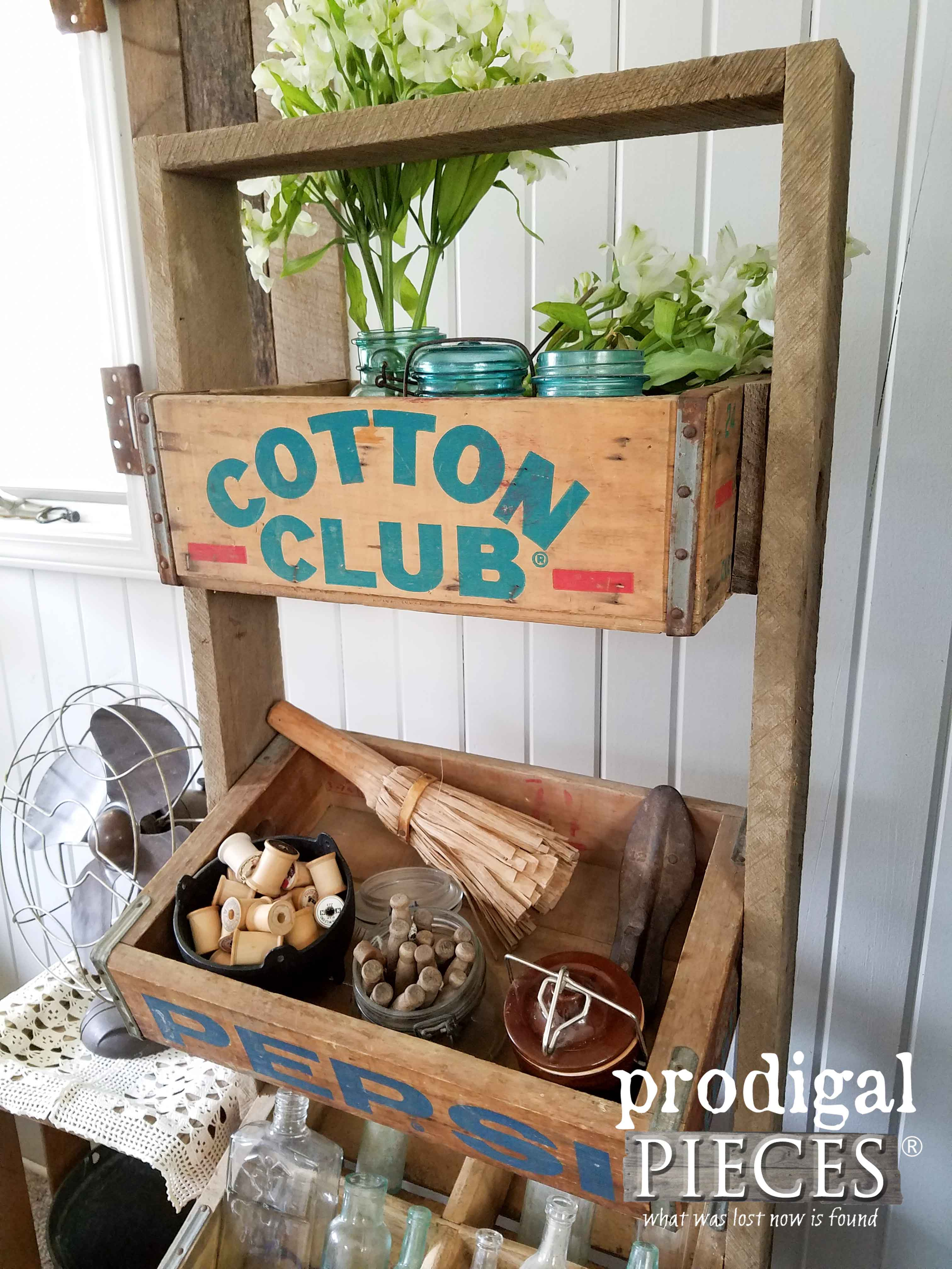 Soda Crates Make for a Rustic Flea Market Style Stand by Prodigal Pieces | www.prodigalpieces.com