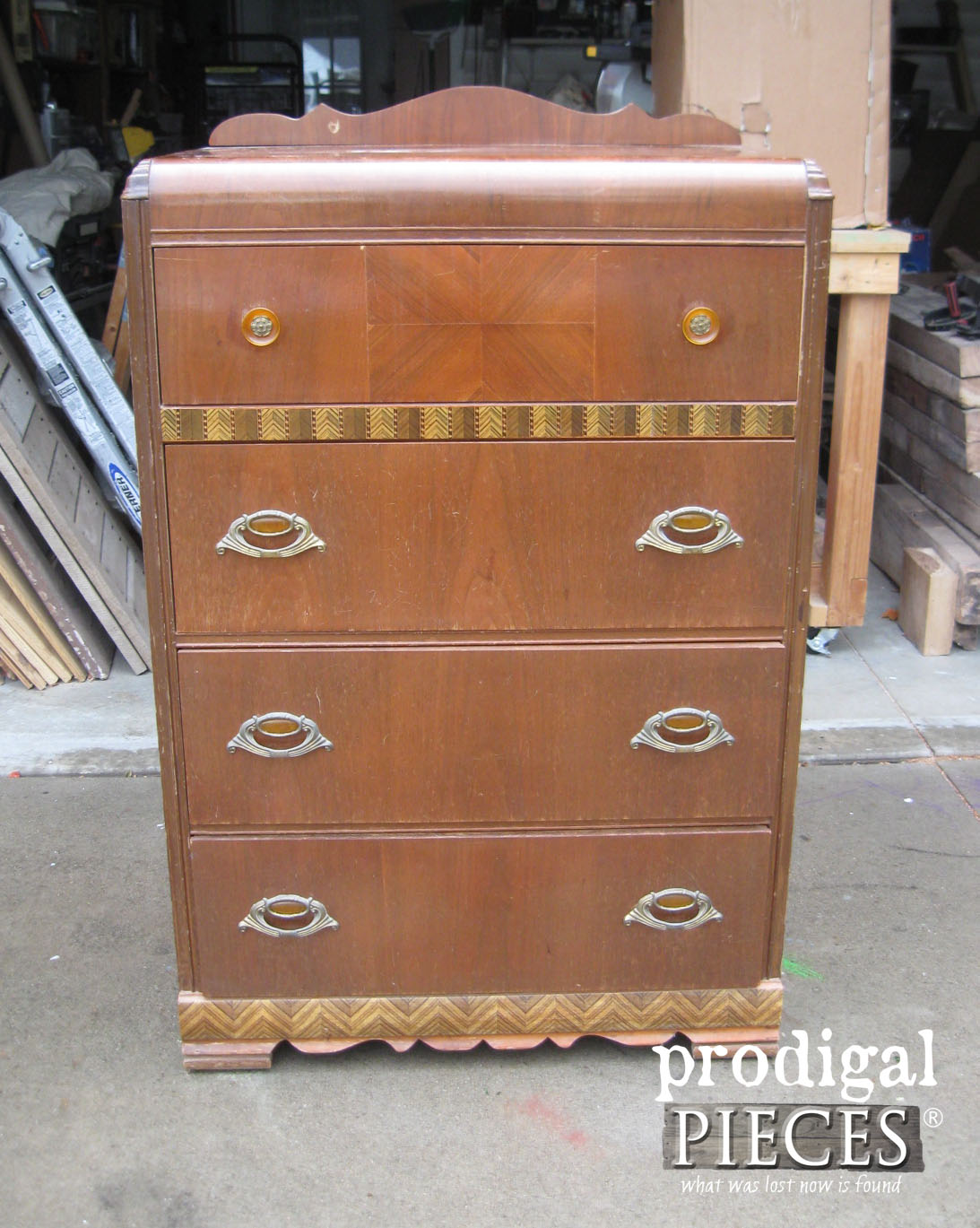 Waterfall Chest of Drawers Before Decoupage Makeover by Prodigal Pieces | www.prodigalpieces.com