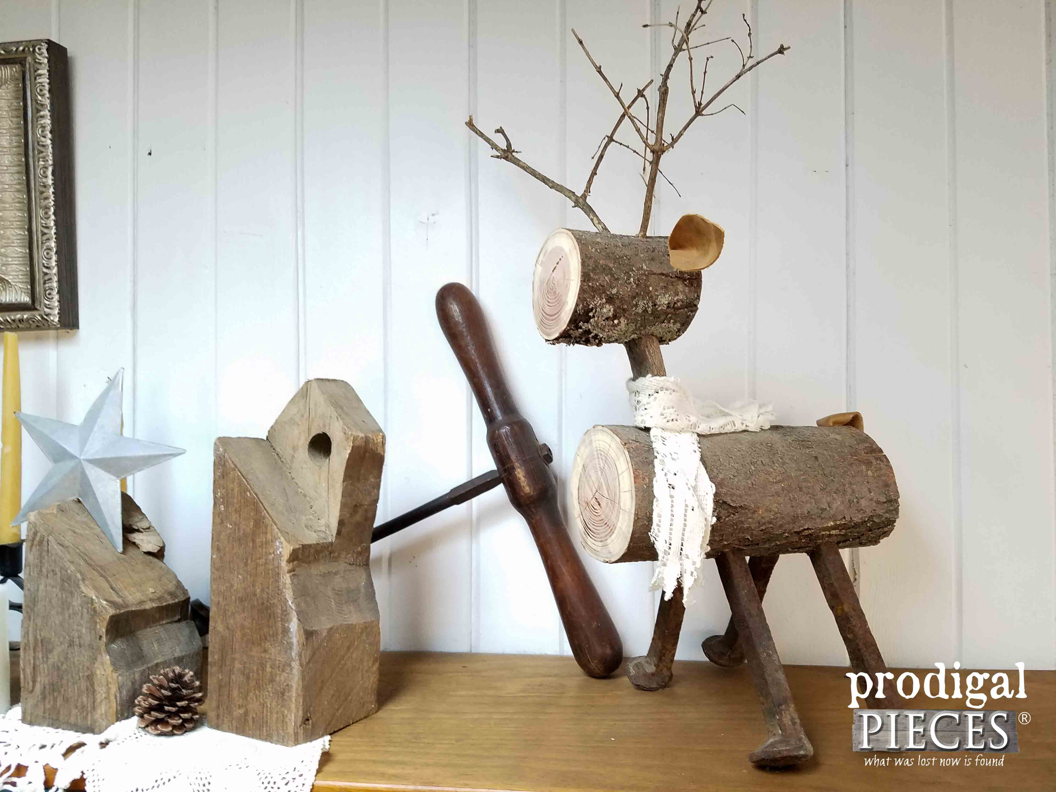 DIY Repurposed Log Reindeer by Prodigal Pieces | www.prodigalpieces.com