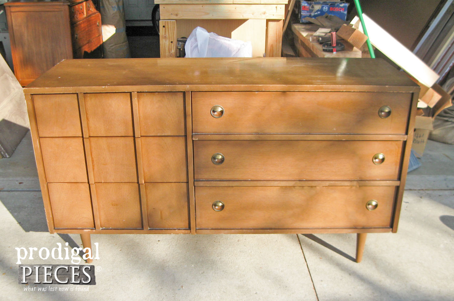 Mid Century Dresser Before Makeover by Prodigal Pieces | prodigalpieces.com