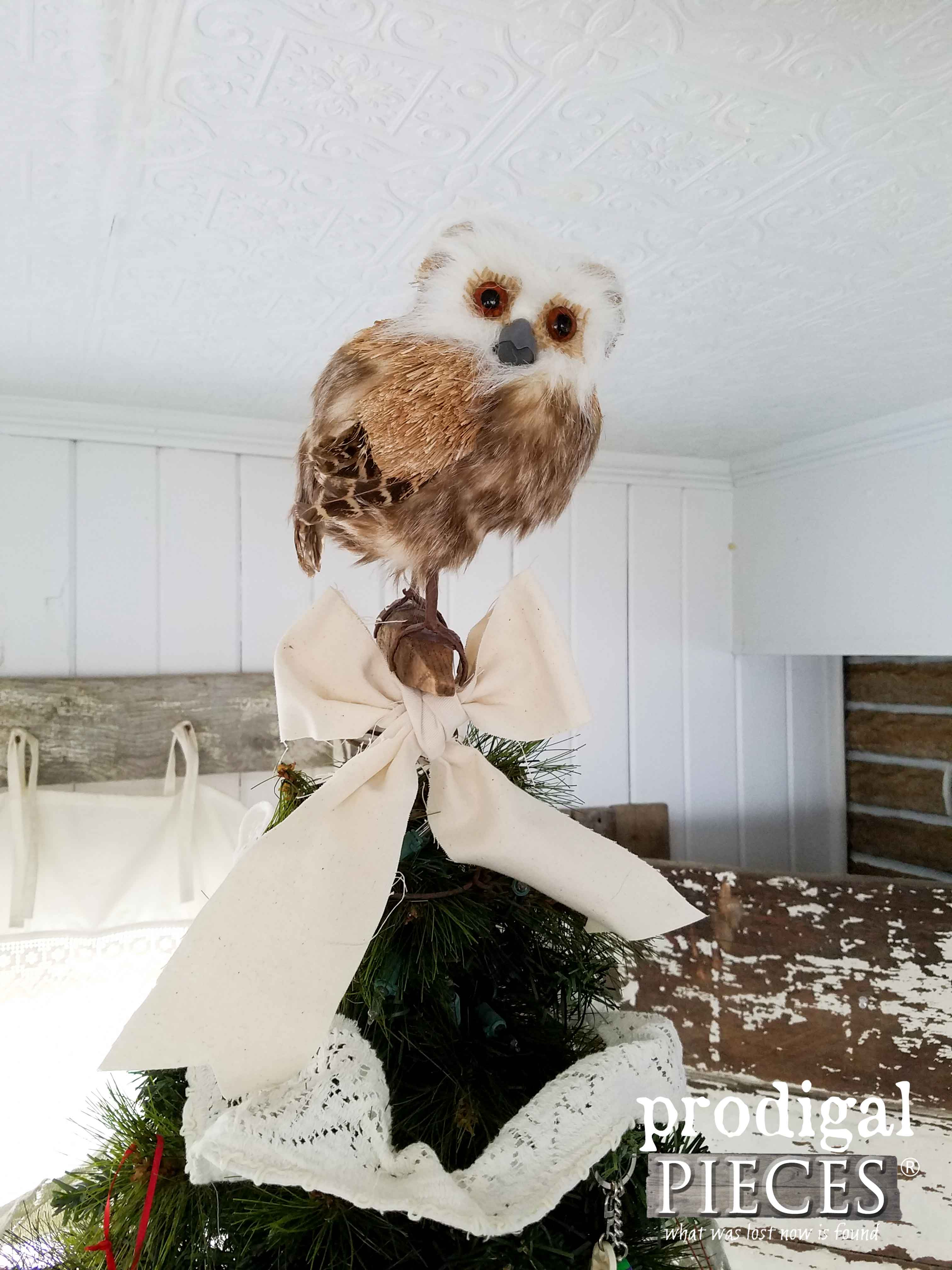 Repurposed Barn Beam Peg and Bed Spring Bird Tree Topper by Prodigal Pieces | www.prodigalpieces.com