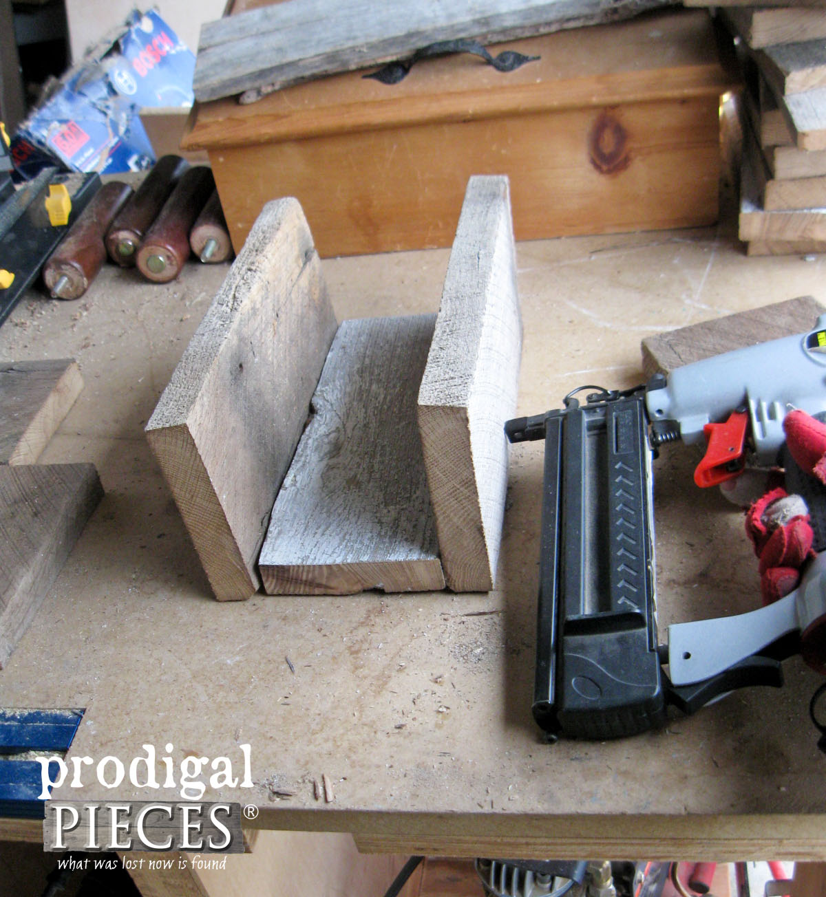 Nailing Wooden Caddy Sides Together | Prodigal Pieces | www.prodigalpieces.com