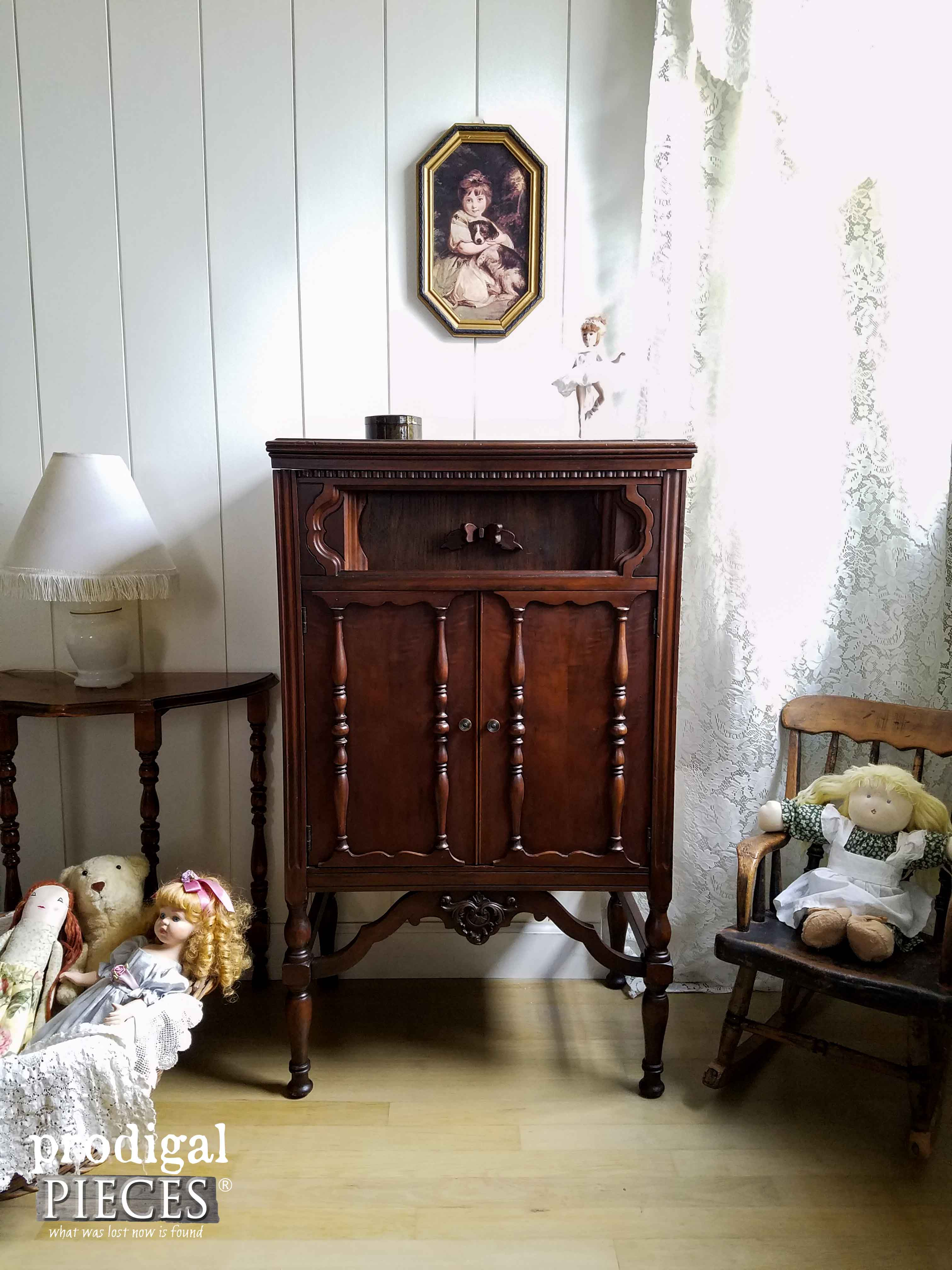 Antique Pooley Radio Cabinet Turned Dollhouse by Prodigal Pieces | www.prodigalpieces.com