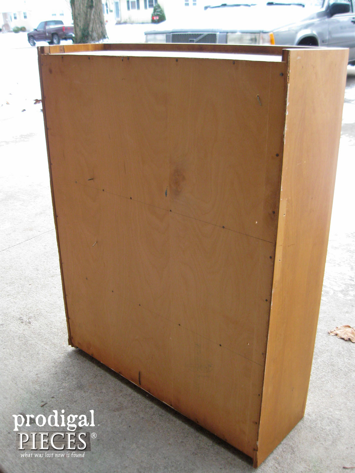 Back of Thrifted Cupboard for Makeover | Prodigal Pieces | prodigalpieces.com