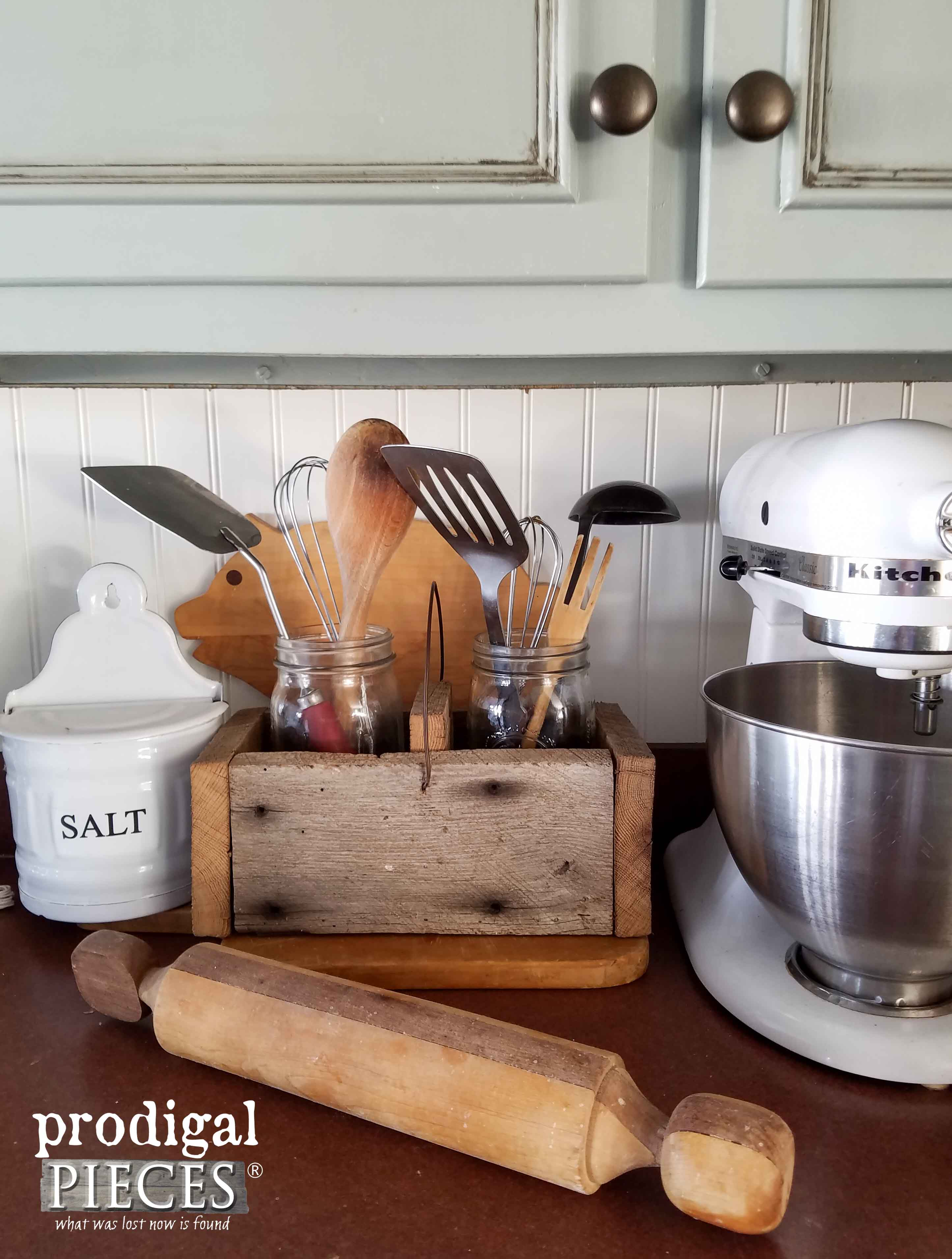 DIY Wooden Kitchen Caddy from Reclaimed or New Wood ~ Tutorial by Prodigal Pieces | www.prodigalpieces.com