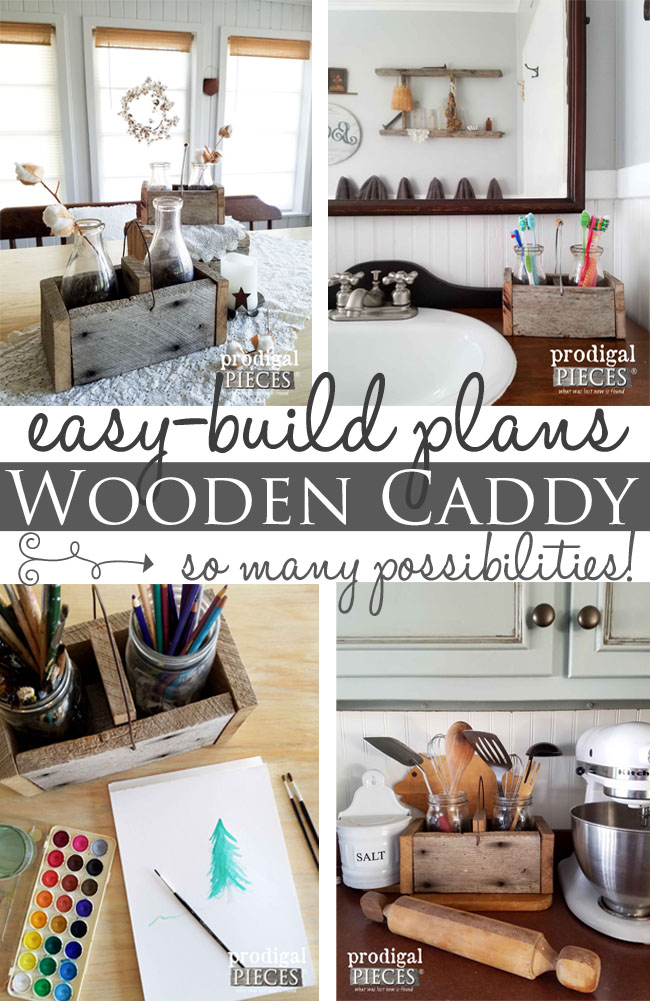 Build this easy wooden caddy with step-by-step plans. Perfect for kitchen, bath, storage, and more! | Prodigal Pieces | www.prodigalpieces.com