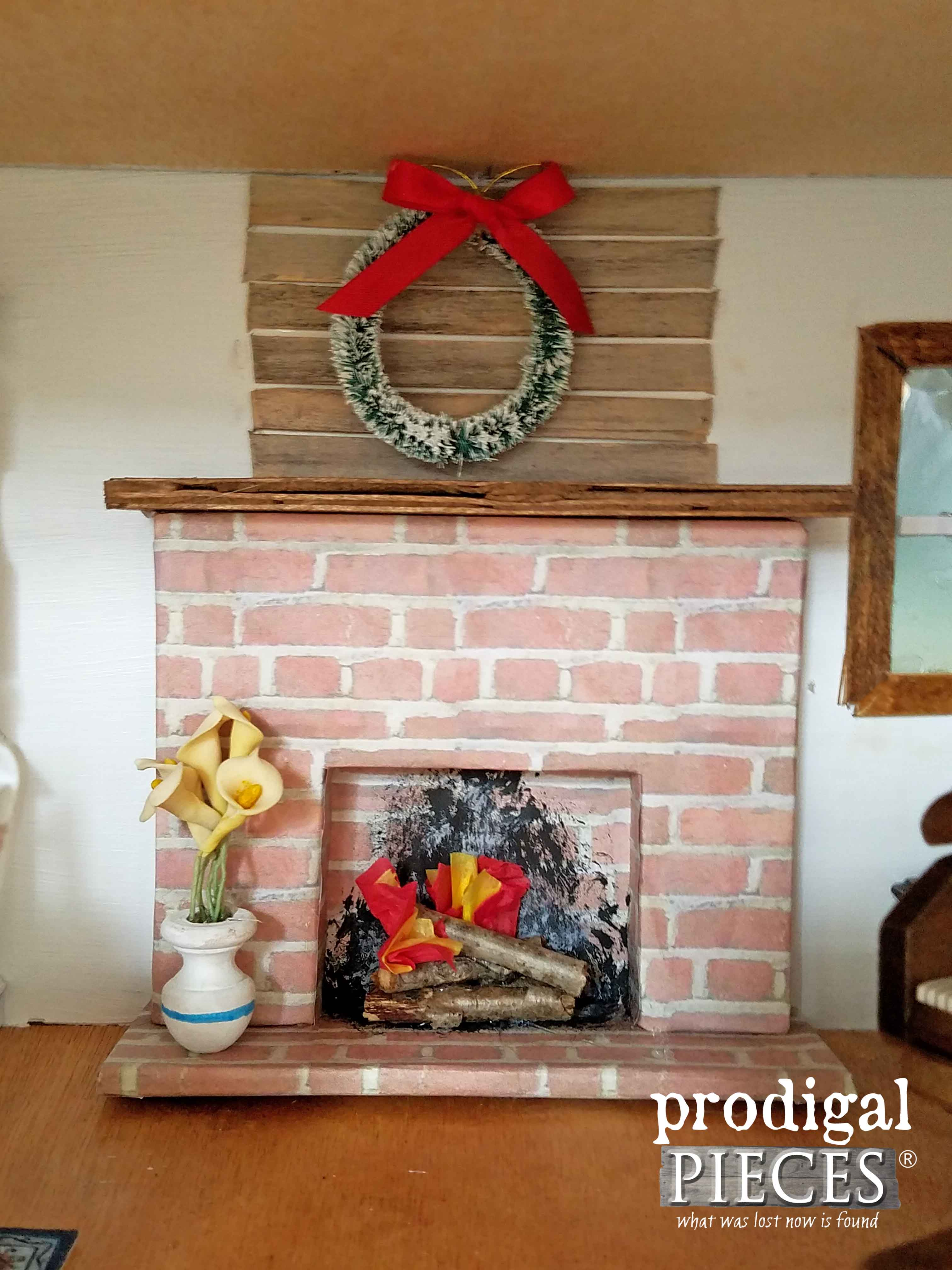 Miniature Dollhouse Fireplace by Prodigal Pieces | www.prodigalpieces.com