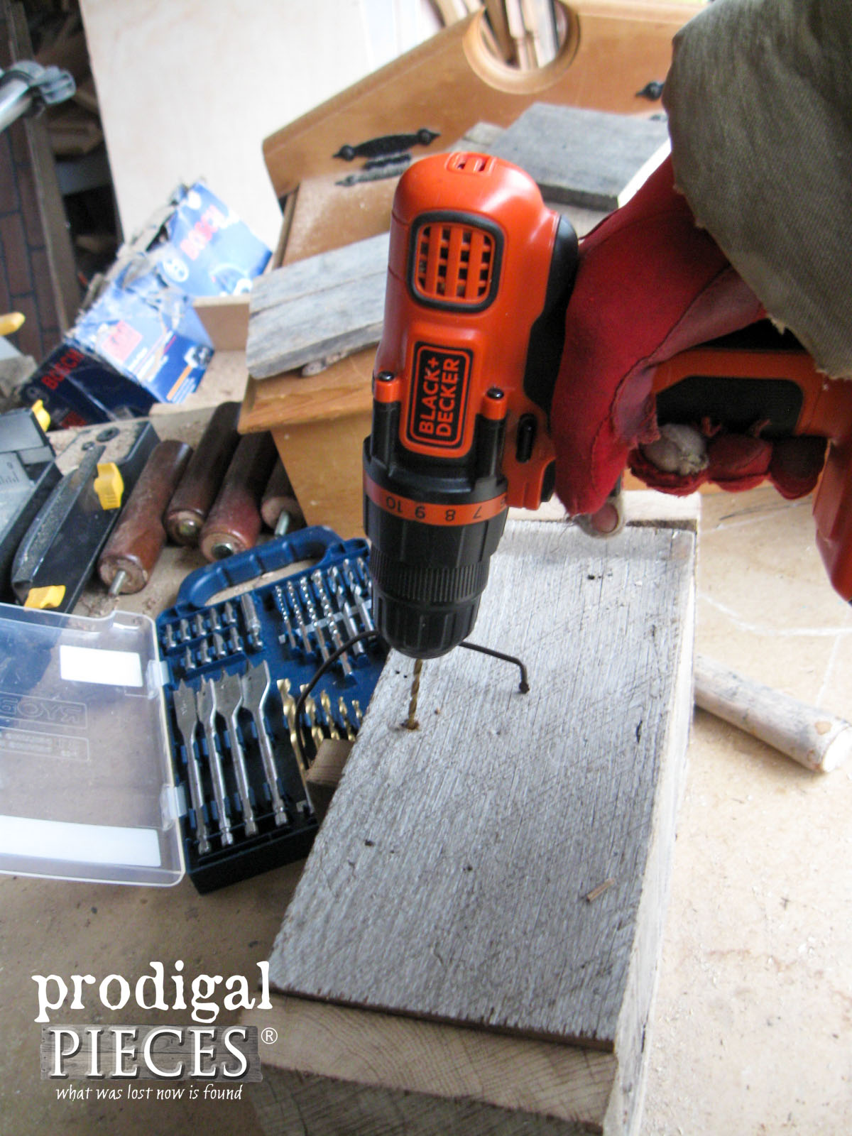 Drilling Wooden Caddy for Handles | Prodigal Pieces | www.prodigalpieces.com