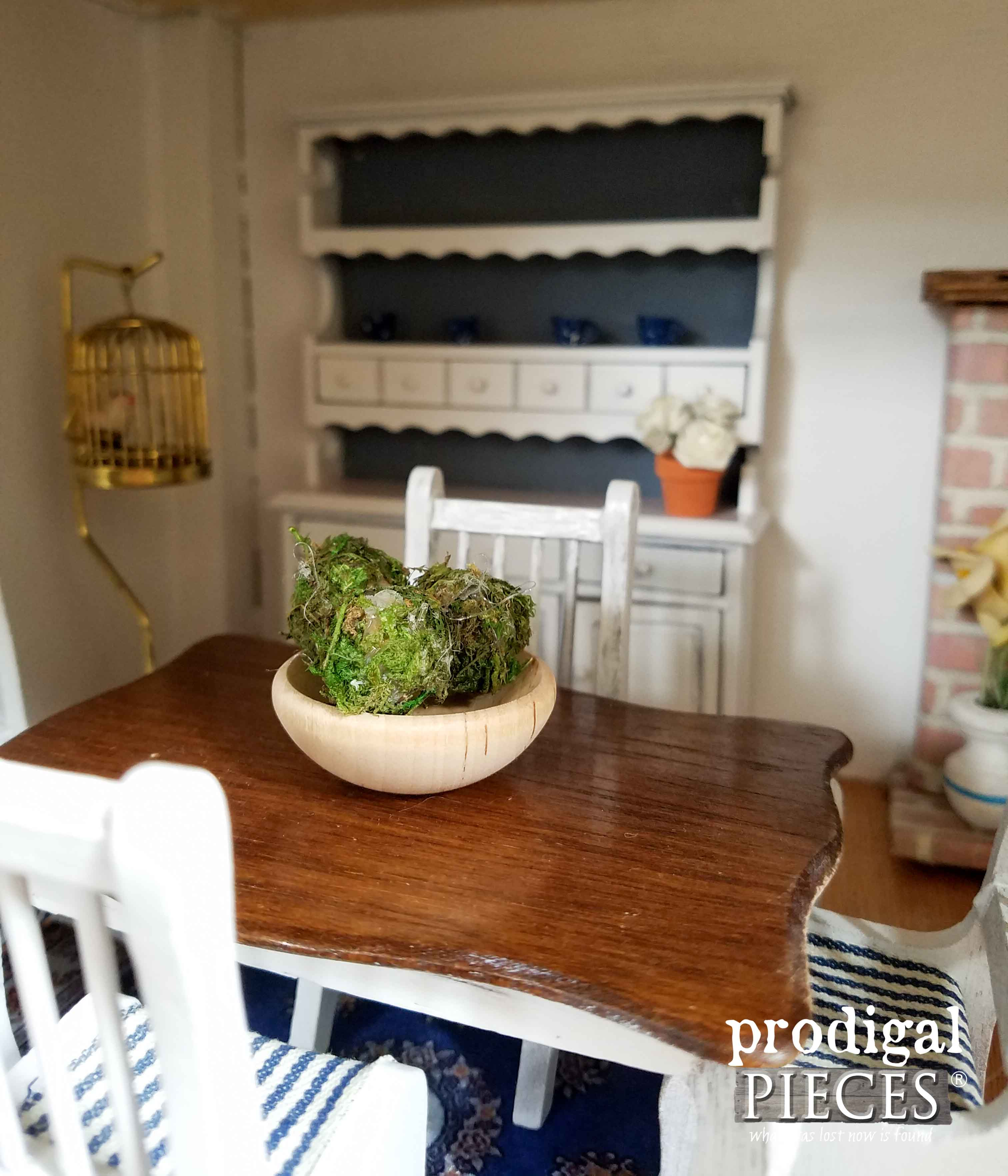Farmhouse Table in Repurposed Radio Dollhouse by Prodigal Pieces | www.prodigalpieces.com