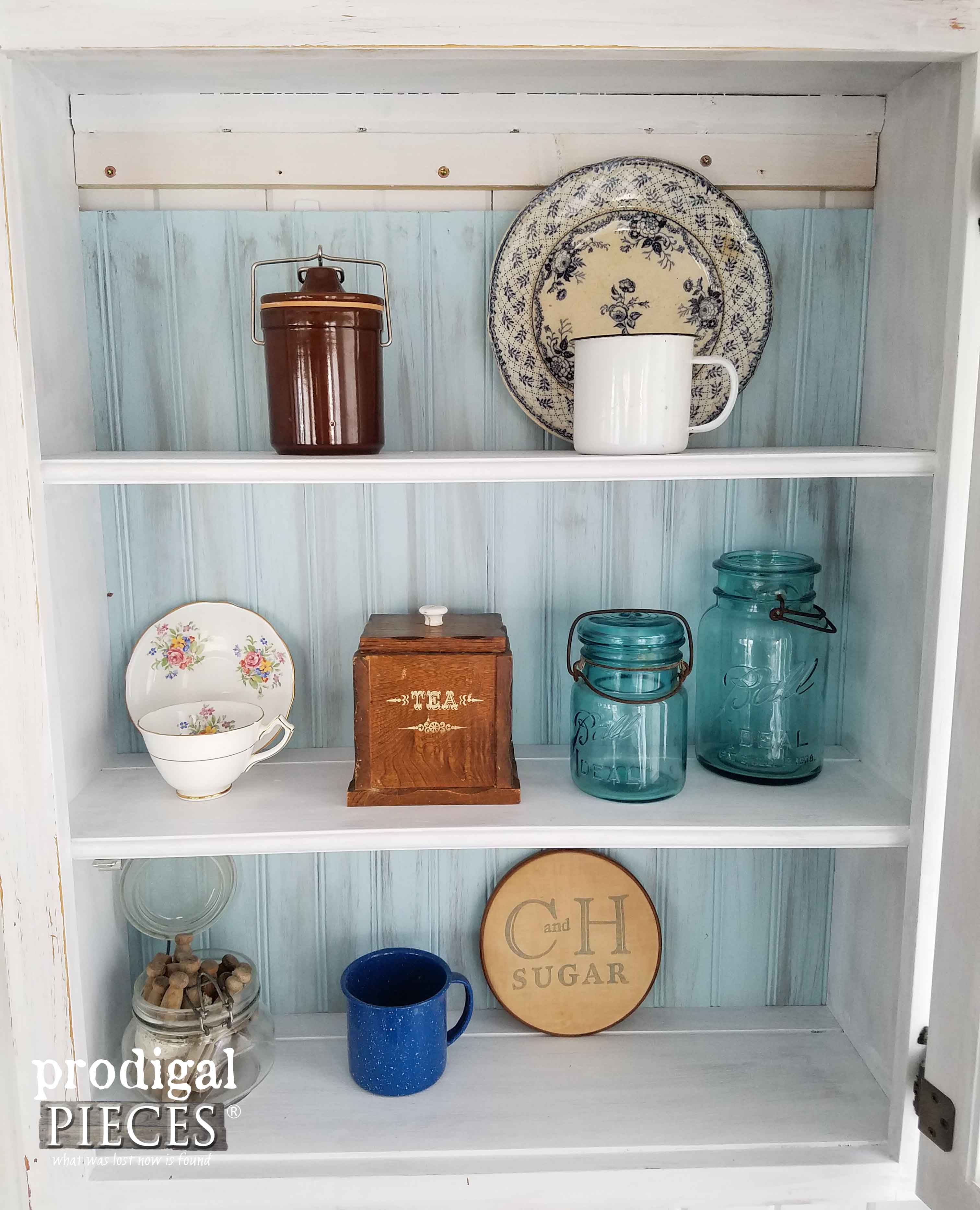 Farmhouse Kitchen Vignette in Cupboard by Prodigal Pieces | prodigalpieces.com