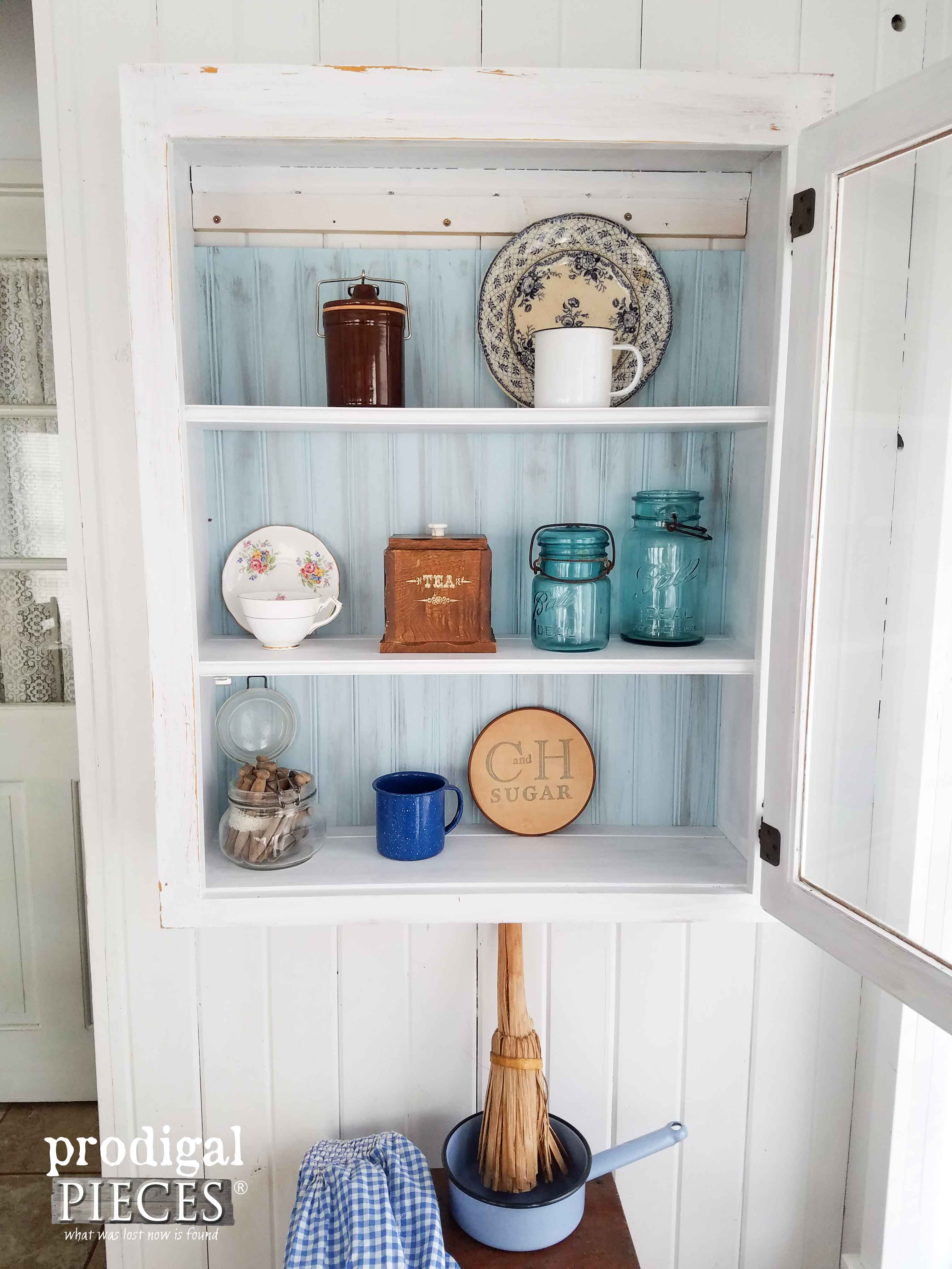 Farmhouse Cupboard Updated with Bead Board and Hardware | Prodigal Pieces | prodigalpieces.com