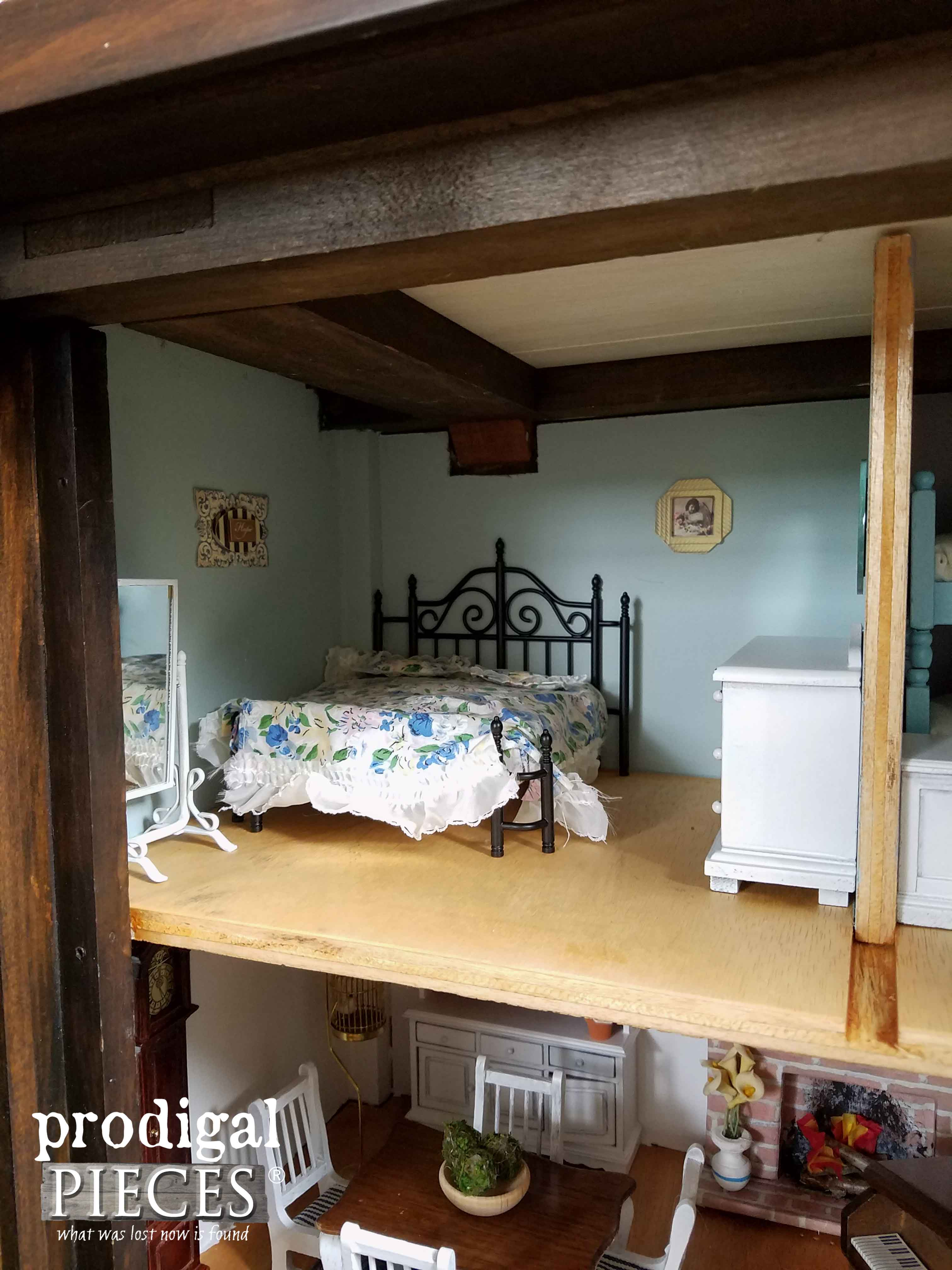 Master Bedroom of Repurposed Dollhouse | Prodigal Pieces | www.prodigalpieces.com